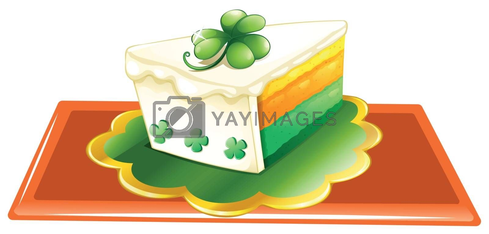Illustration of a slice of cake for the celebration of St. Patrick's day on a white background