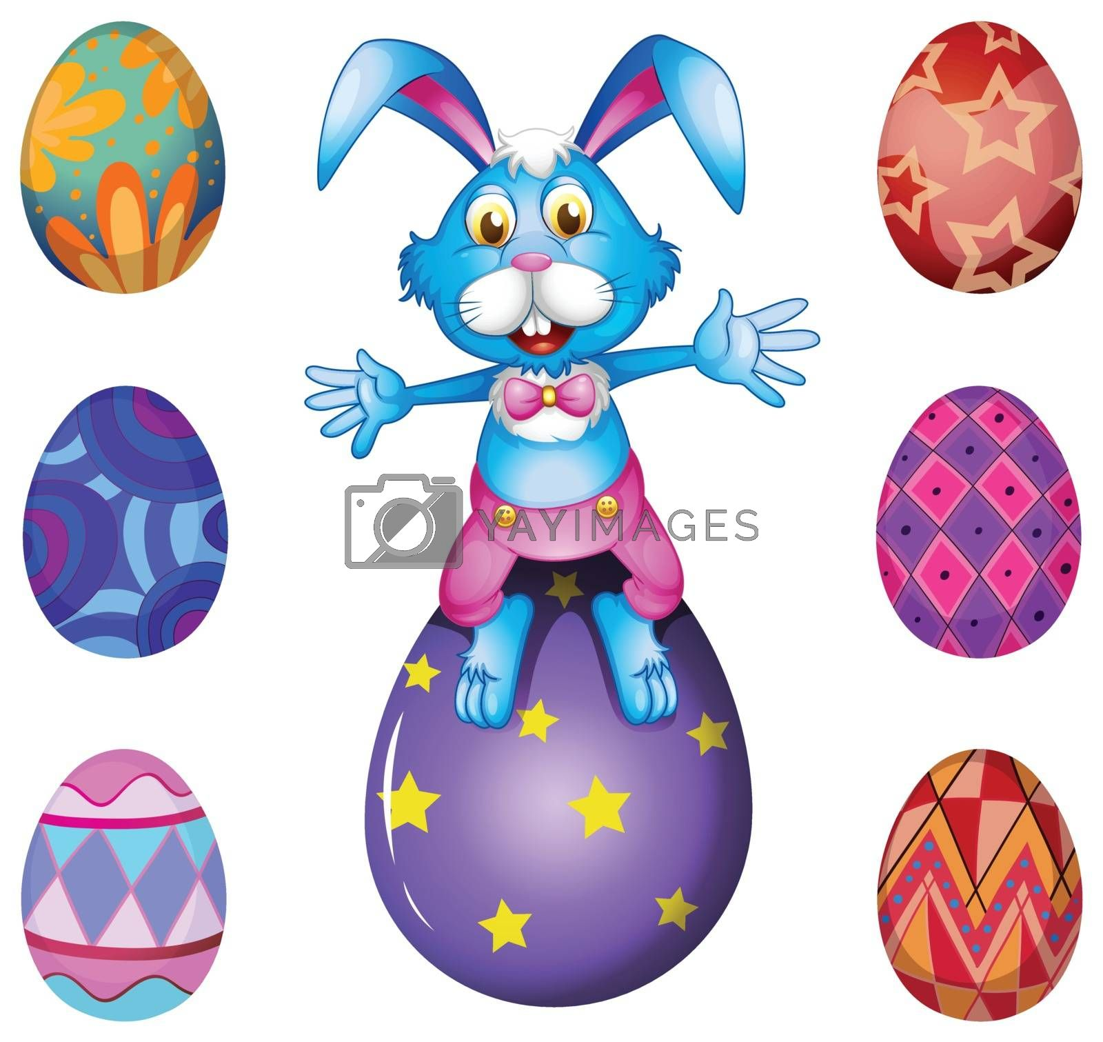 Illustration of a bunny above the Easter egg on a white background