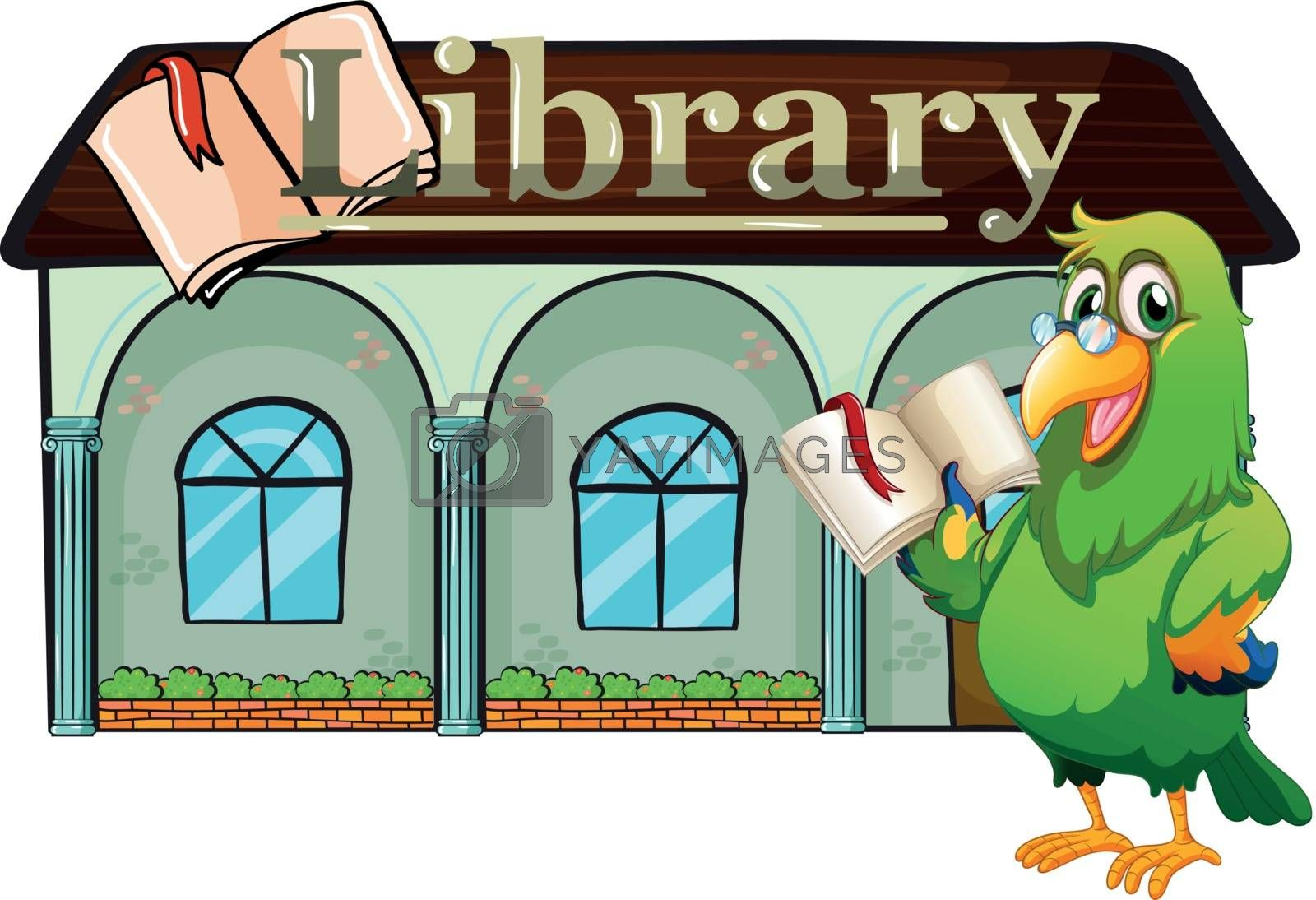 Illustration of an owl holding a book outside the library  on a white background