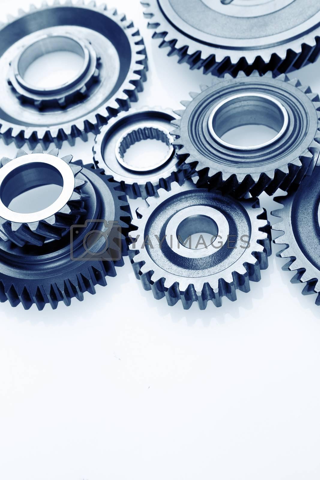 Closeup of metal cog gears