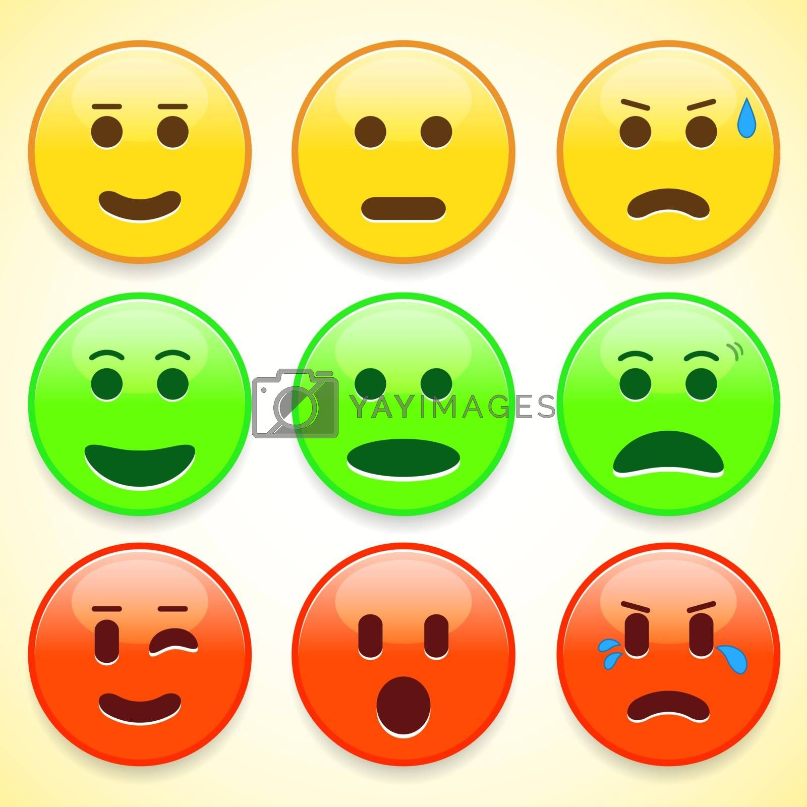 Set of colourful emoticon icons, vector illustration