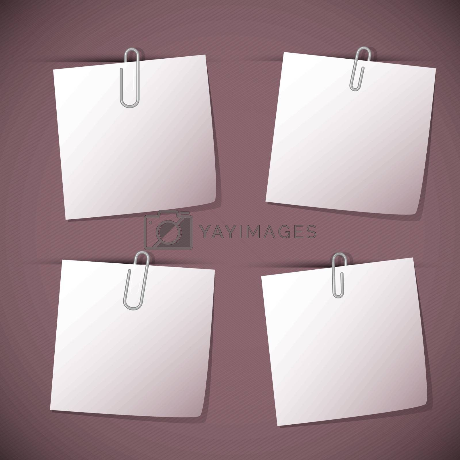Note papers with paperclip on violet background, stock vector