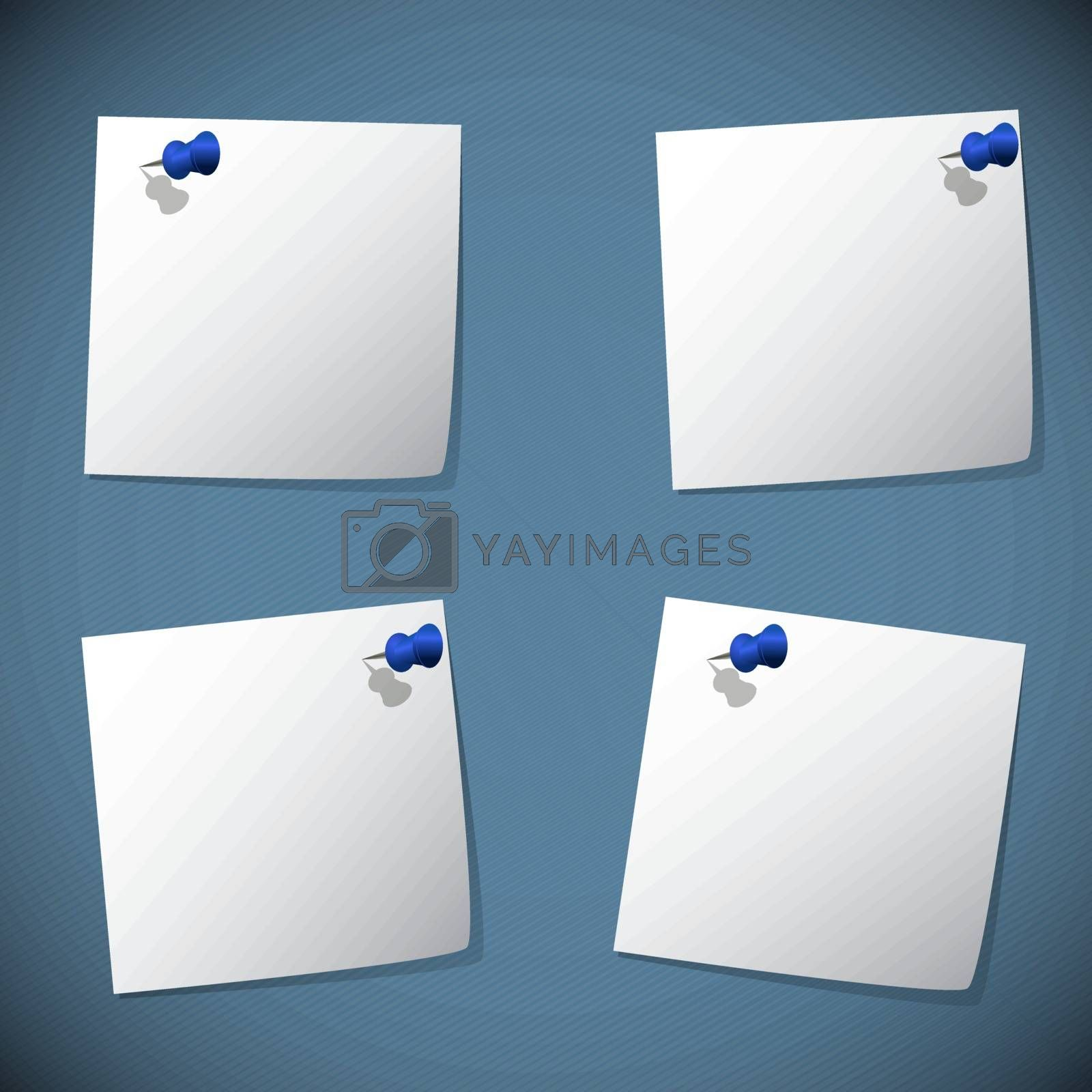 Square note papers with blue pin, stock vector