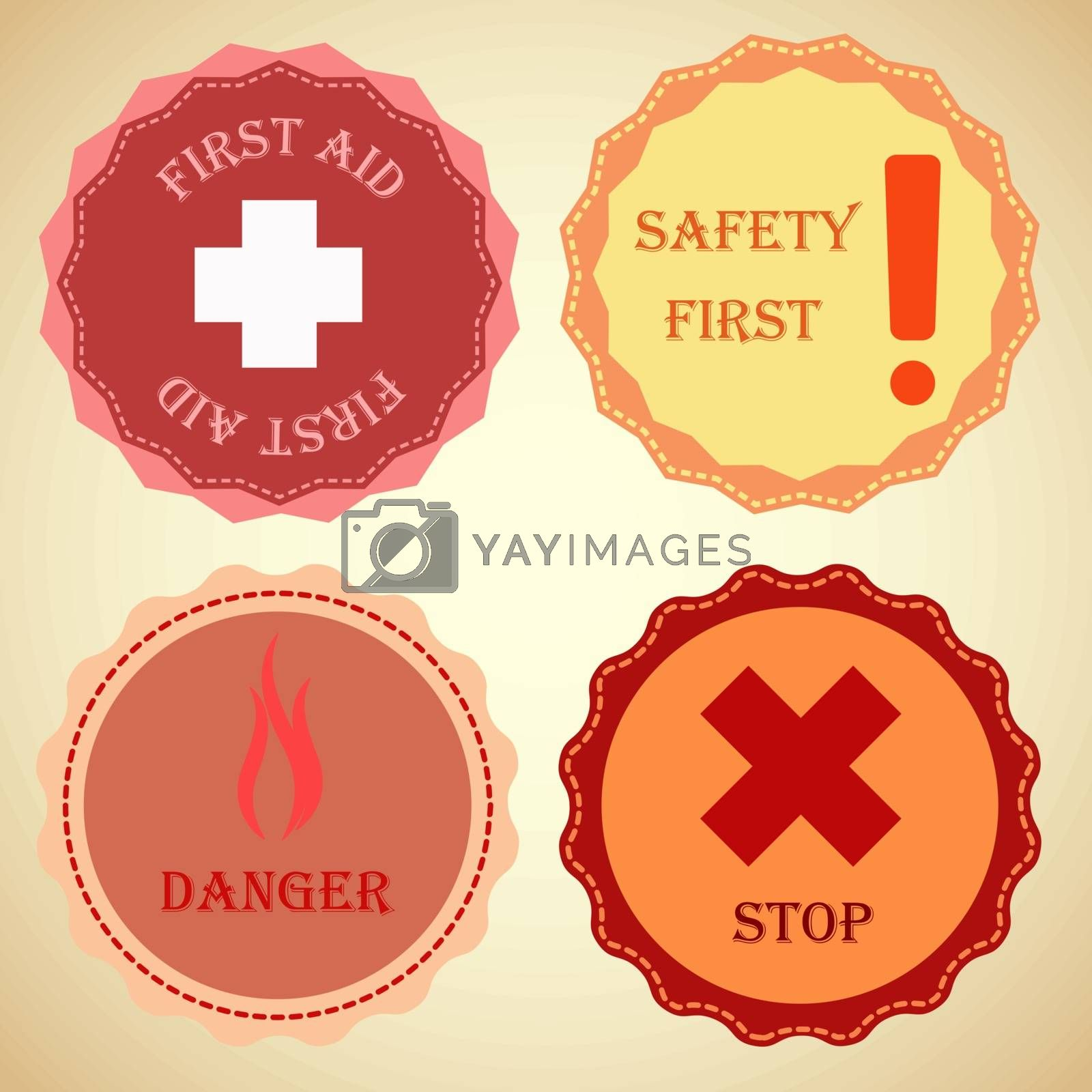 Retro badge collection of warning, stock vector