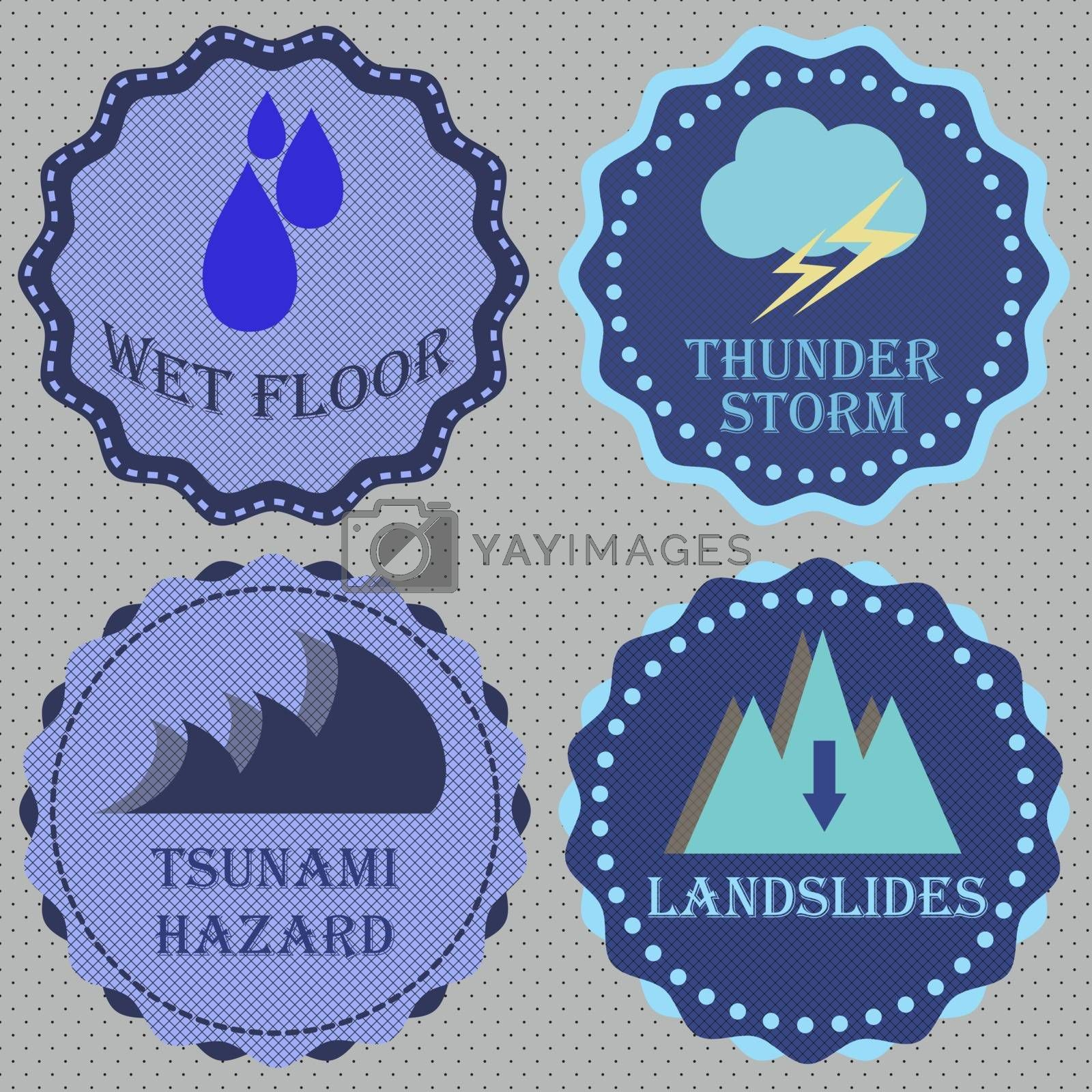 Set of retro badge for caution, stock vector