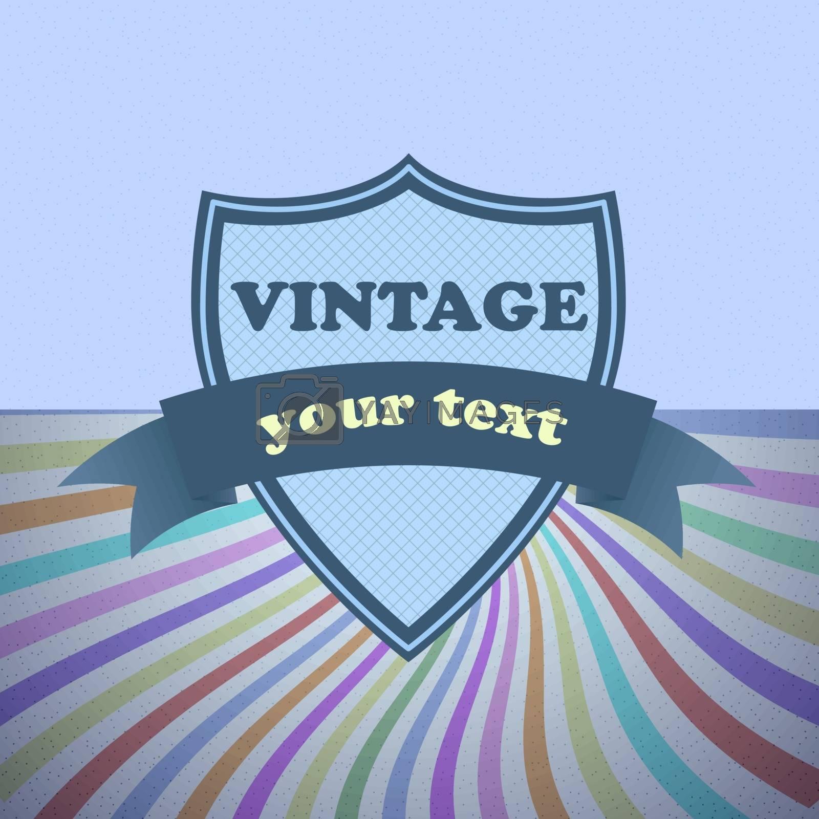 Shield retro vintage label on sunrays background, stock vector