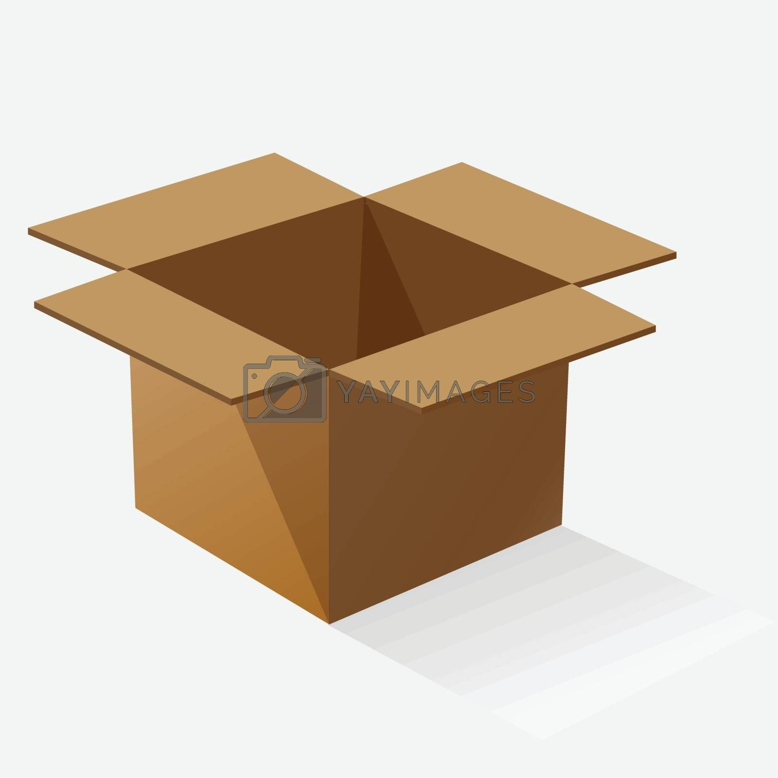 Opened brown paper box with shadow, stock vector