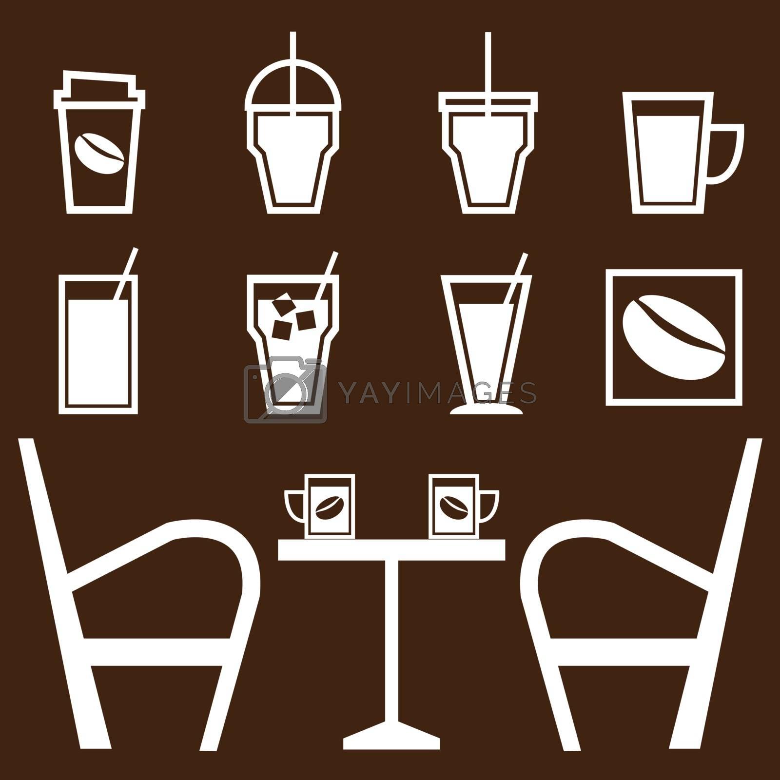 Set of drinks in coffee shop, stock vector