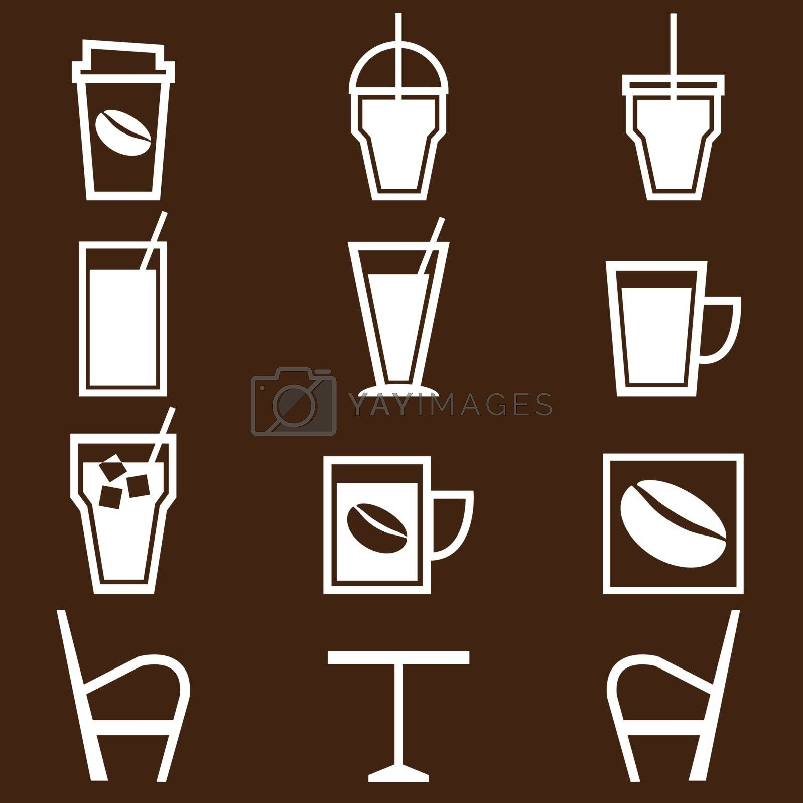 Coffee drinks icons in coffee shop, stock vector