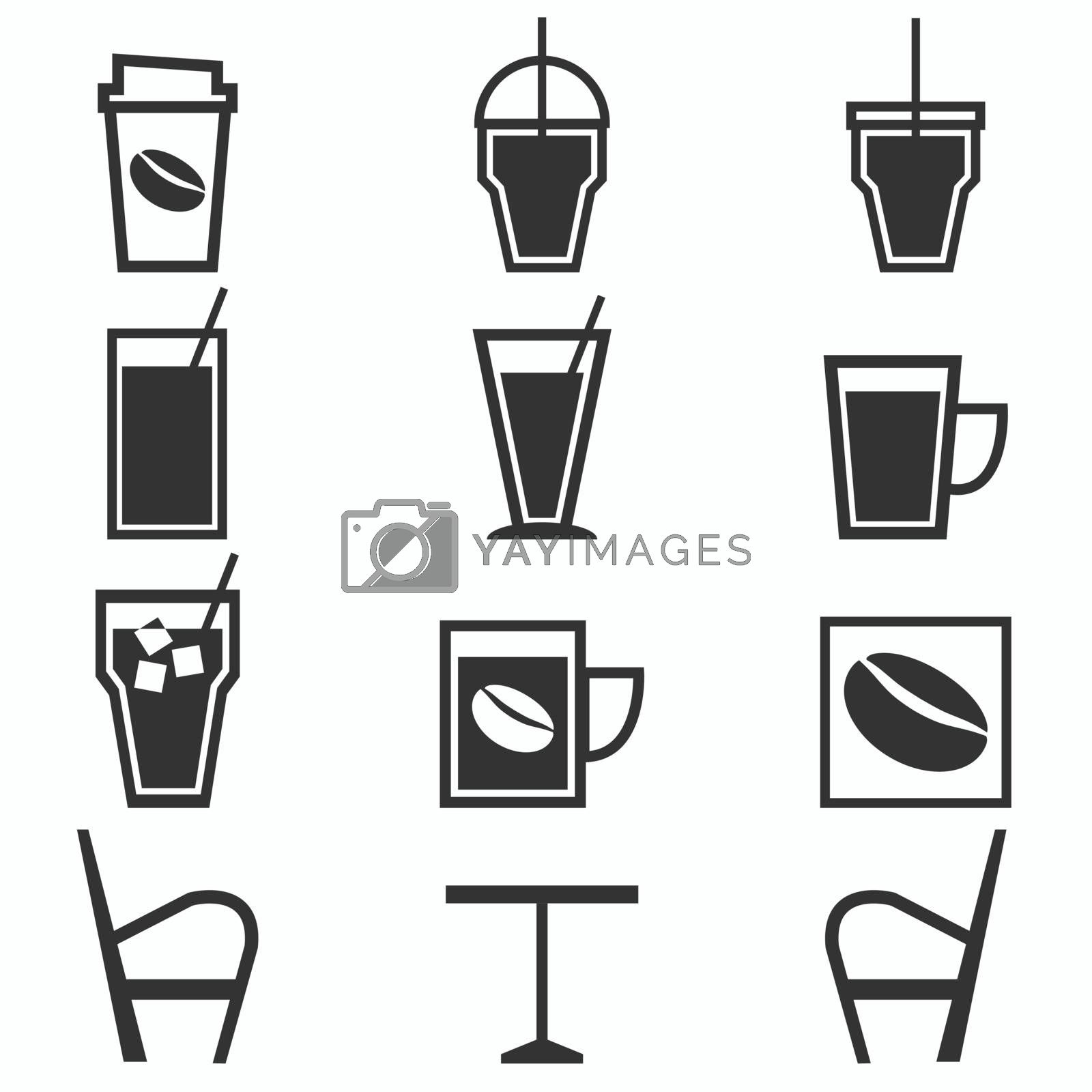 Coffee drinks icons in coffee shop on white background, stock vector