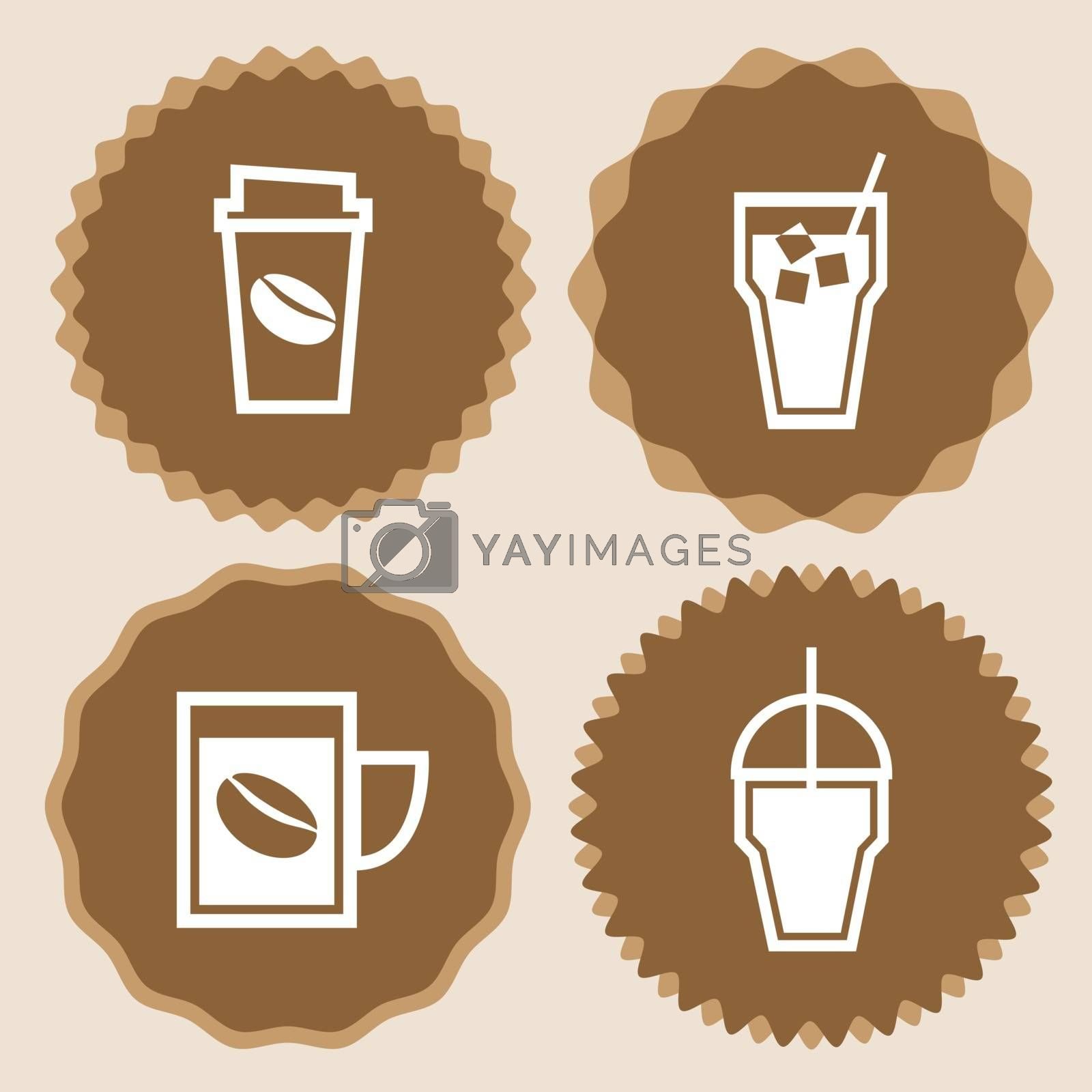 Coffee cup icons badge set, stock vector