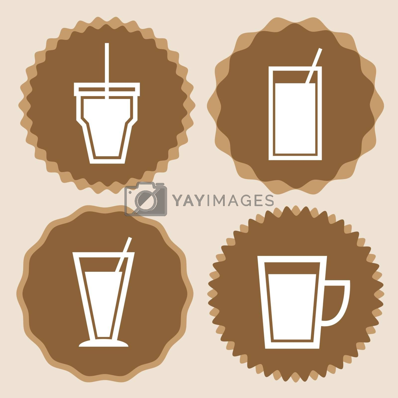 Set of coffee cup icon badges, stock vector