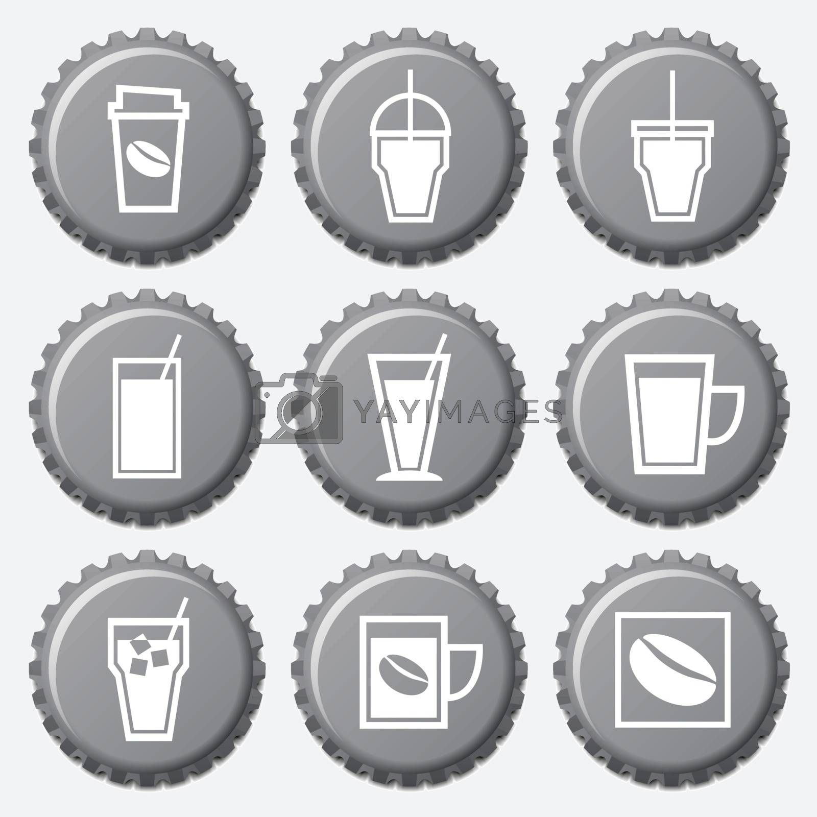 Coffee cup icon on bottle caps set, vector illustration