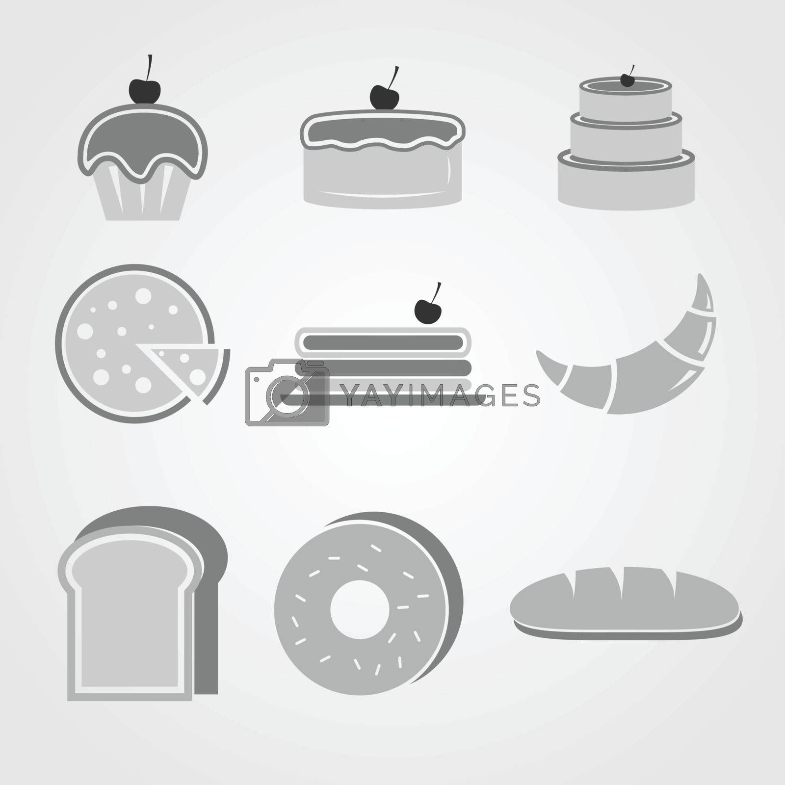 Variety of bakery icons on grey background, stock vector