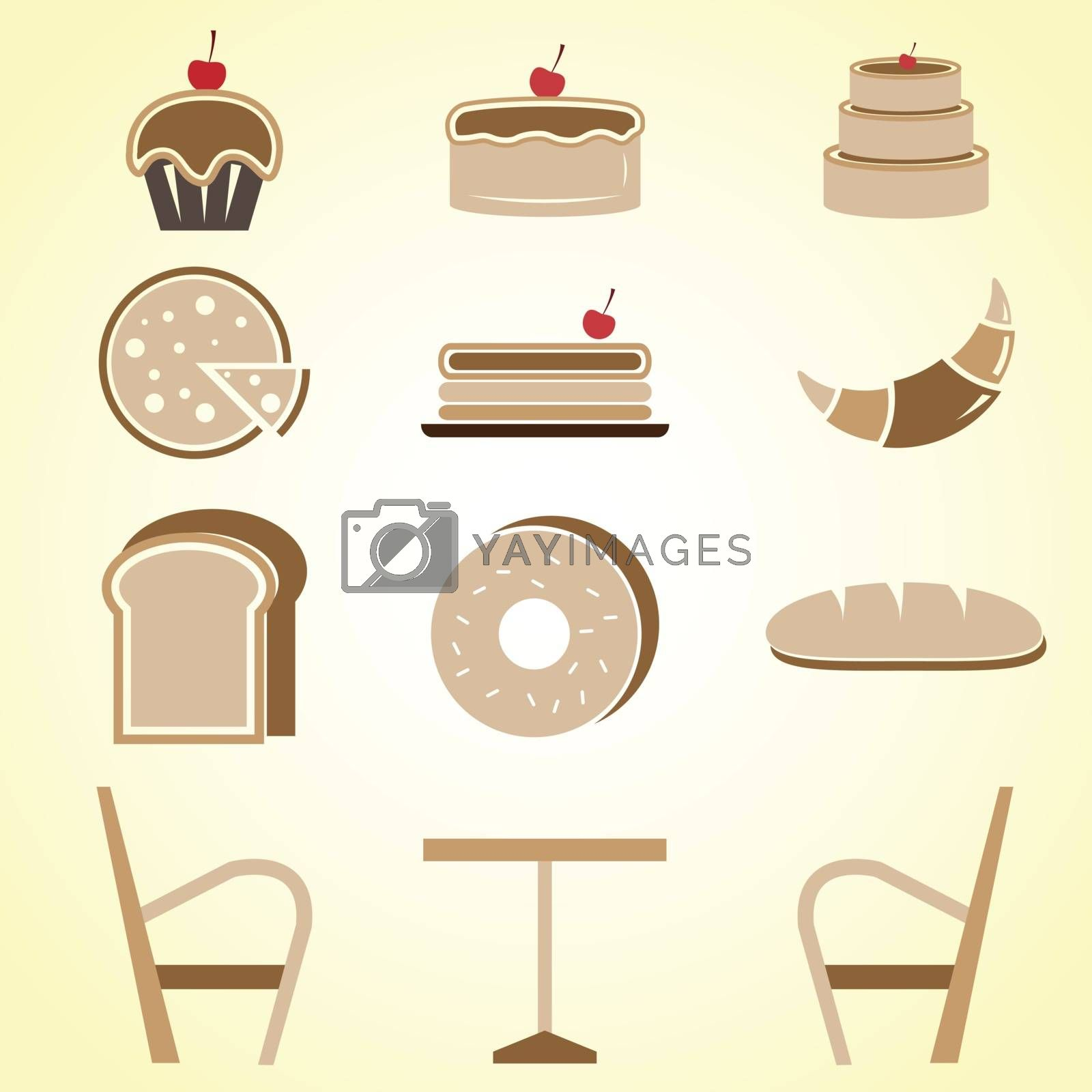 Variety of bakery color icons in coffee shop, stock vector