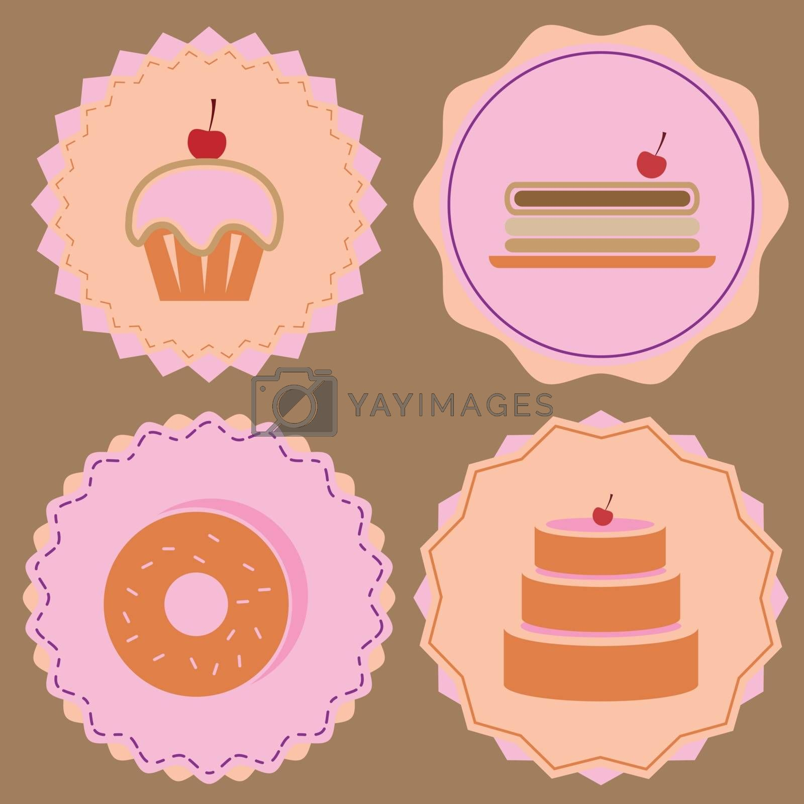 Variety of bakery icon color badges, stock vector