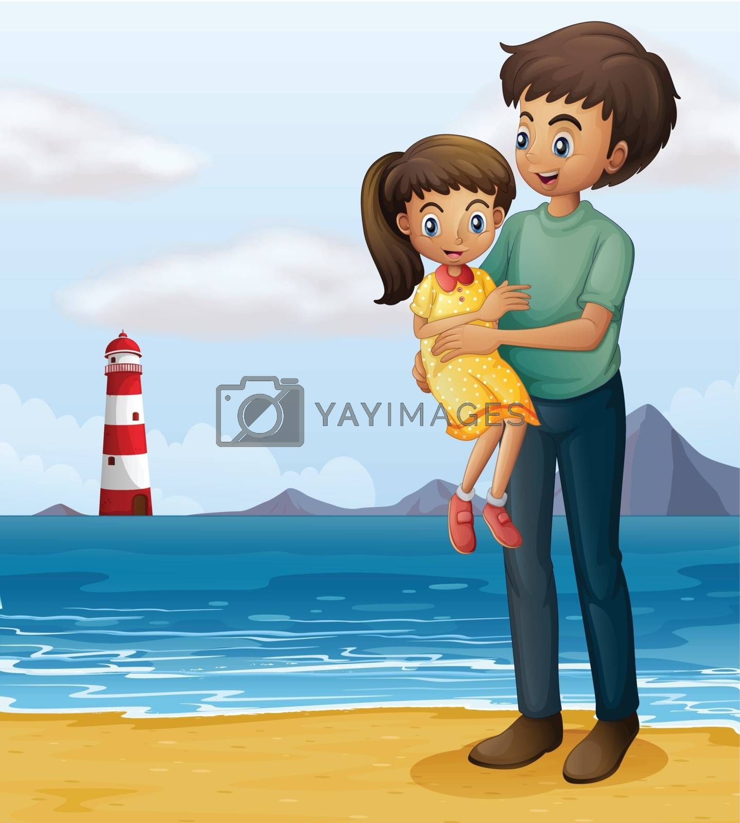 Illustration of a father and a daughter at the beach