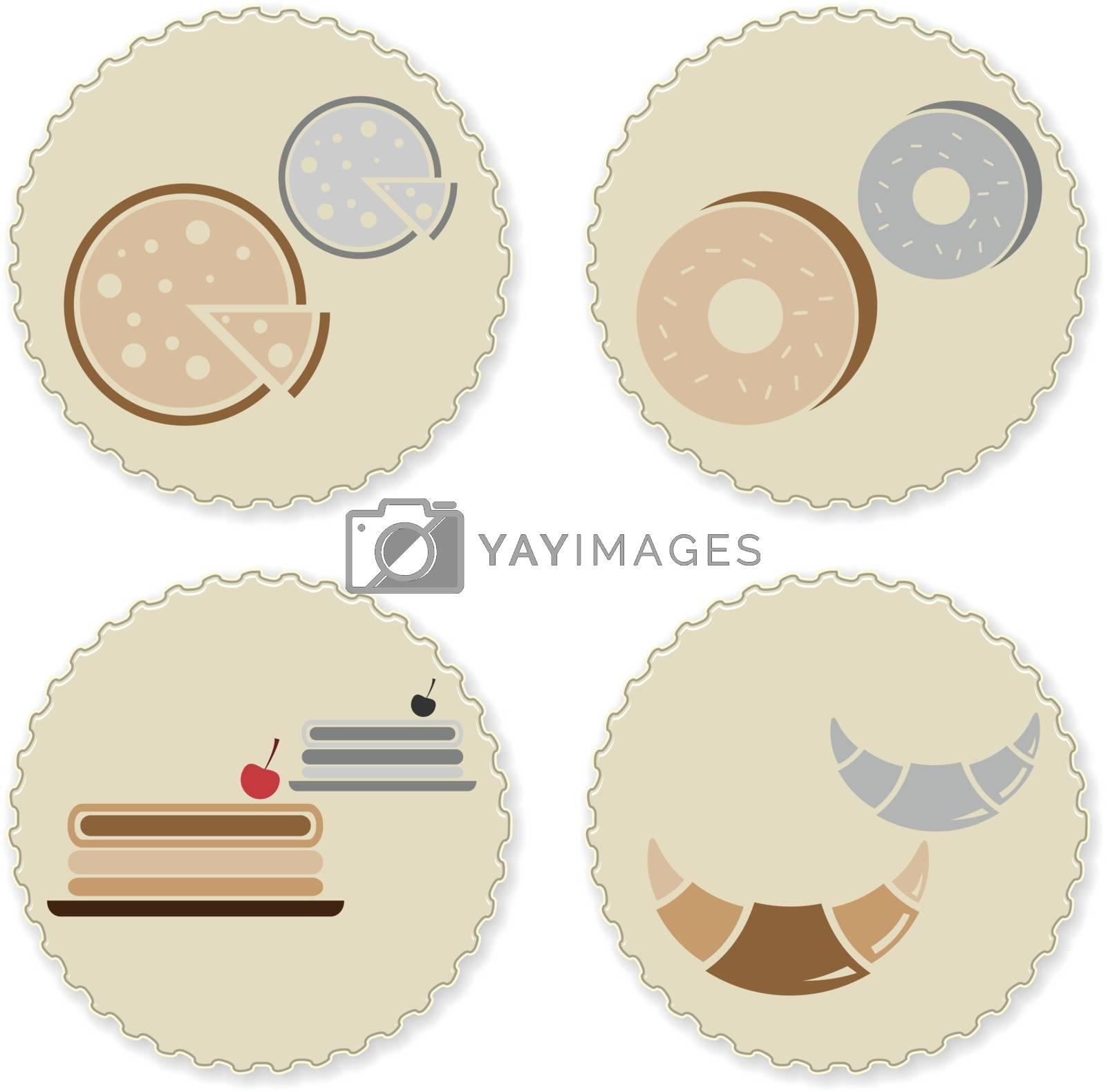 Set of vintage homemade bakery badges, stock vector