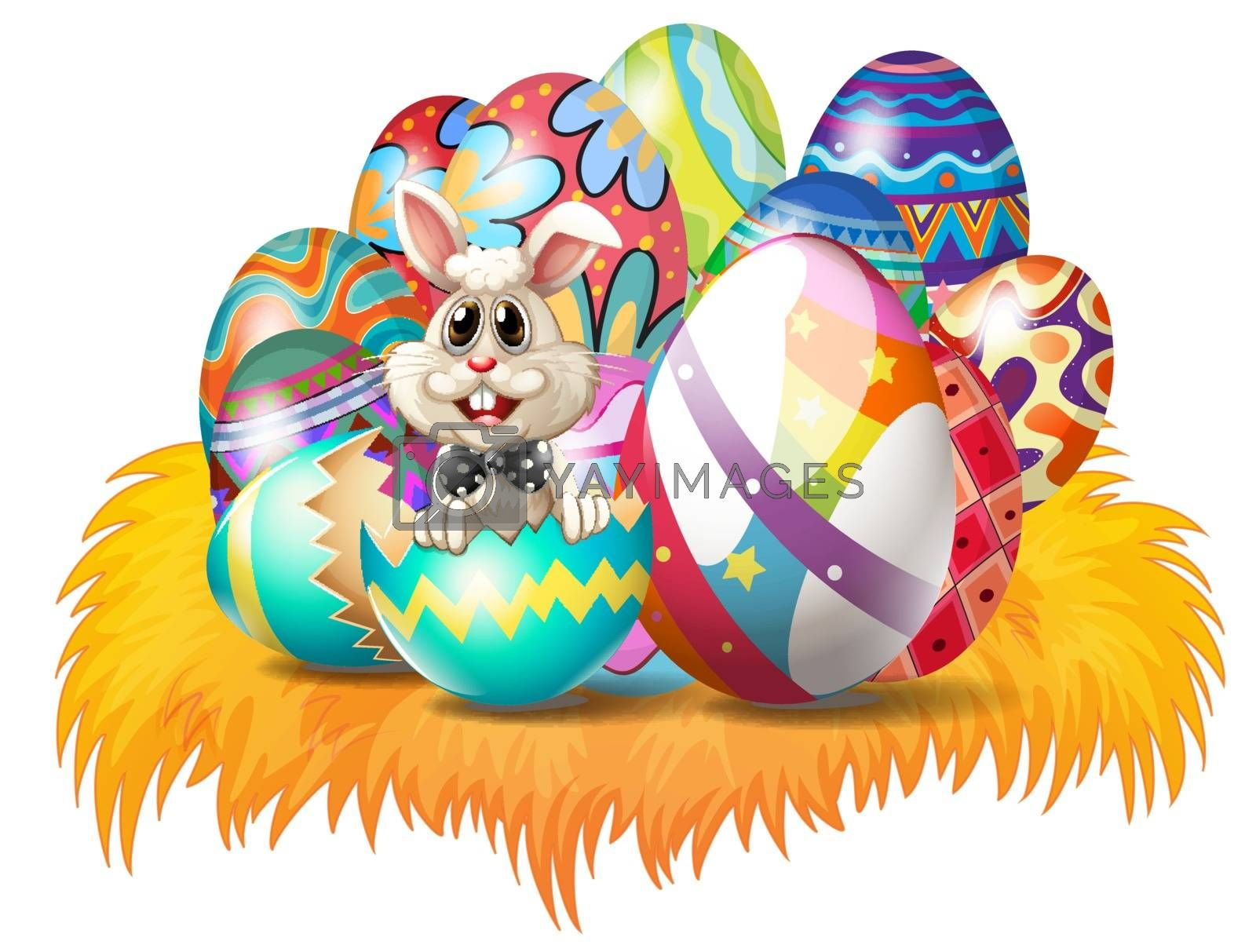 Easter eggs with an Easter bunny by iimages