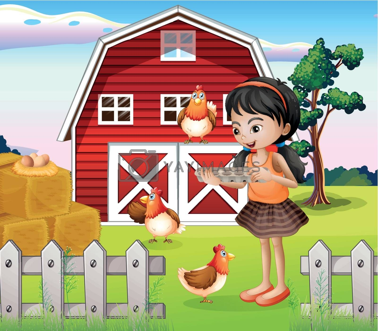 Illustration of a girl with their farm animals