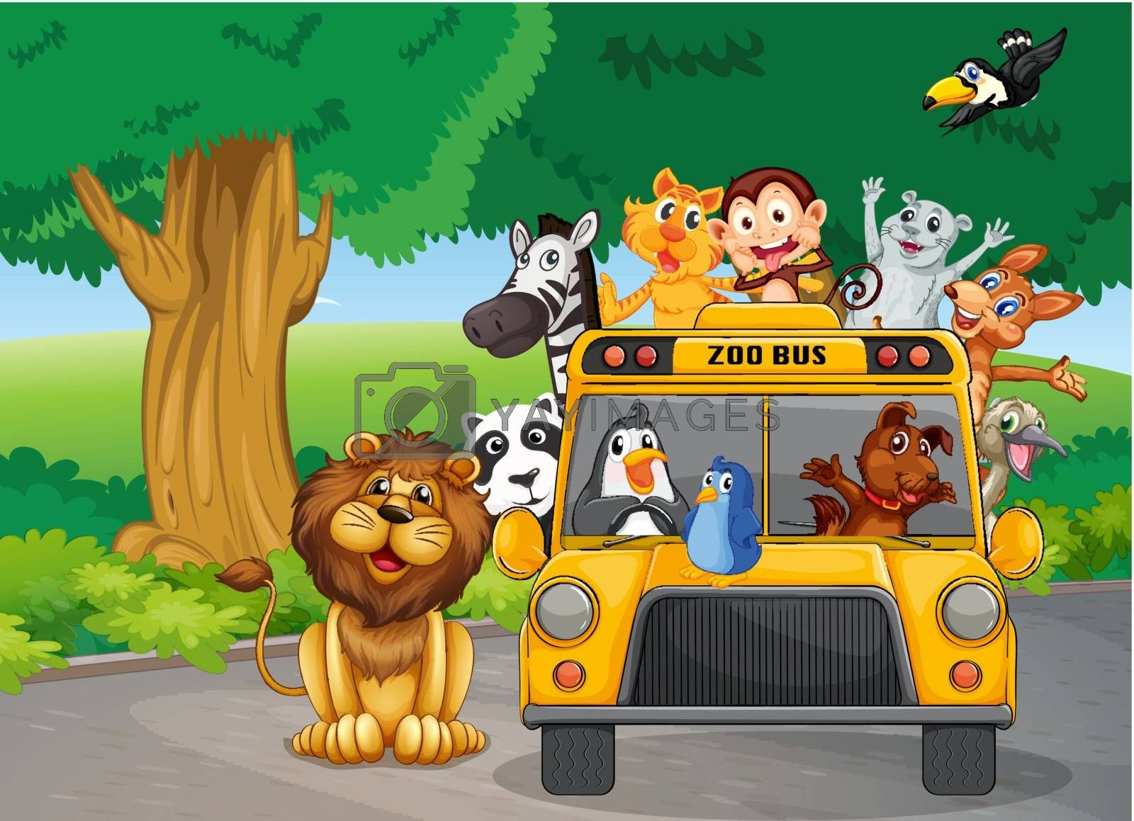Illustration of a zoo bus full of animals