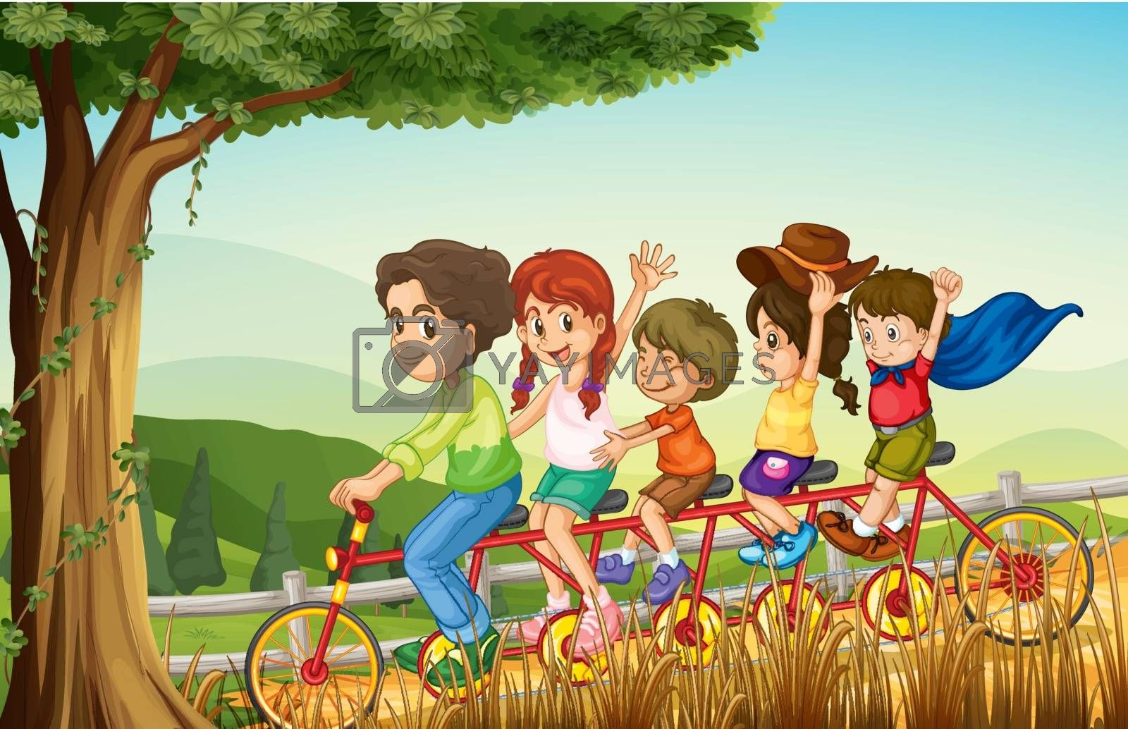 Illustration of a group of people biking