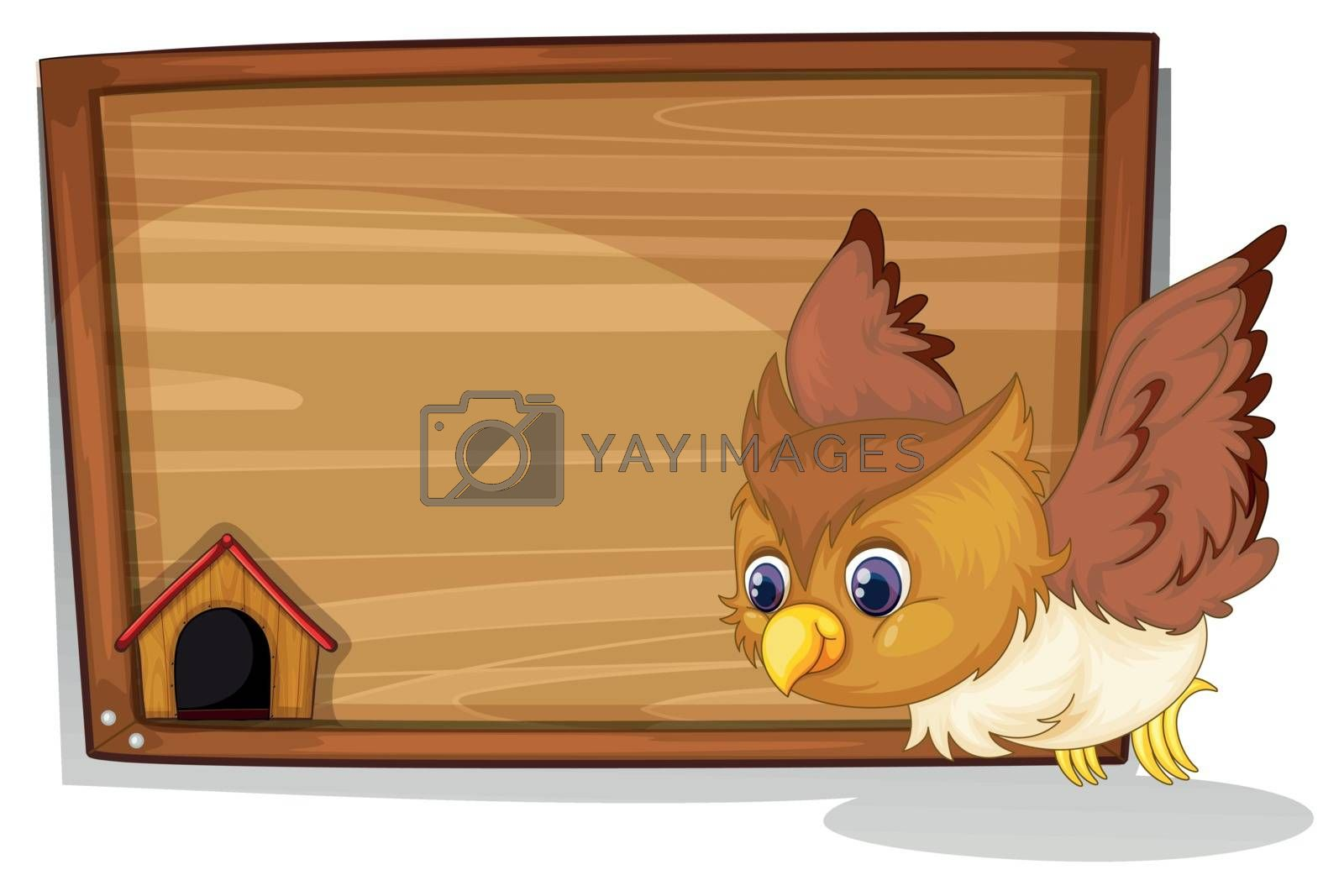 Illustration of an owl flying near the wooden board on a white background