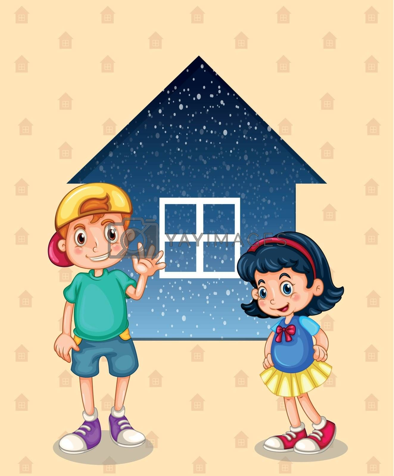 Illustration of a small boy and a small girl standing in front of the small house