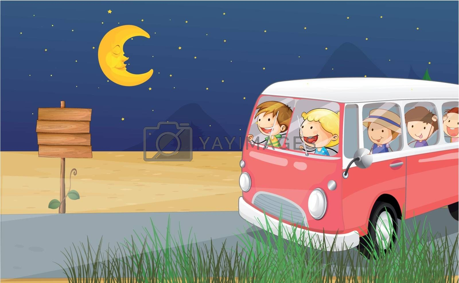 Illustration of children riding in a bus