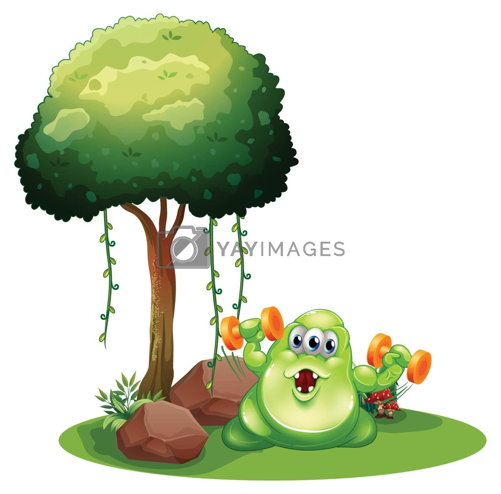 Illustration of a fat green monster with a barbell exercising near the tree on a white background