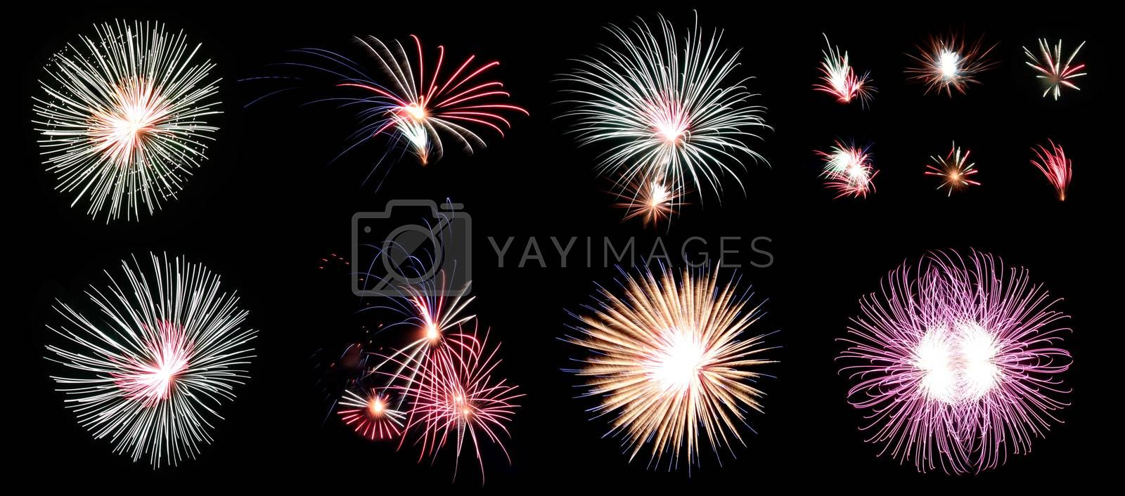 The Picture Mix Fireworks or firecracker in the darkness Frame.