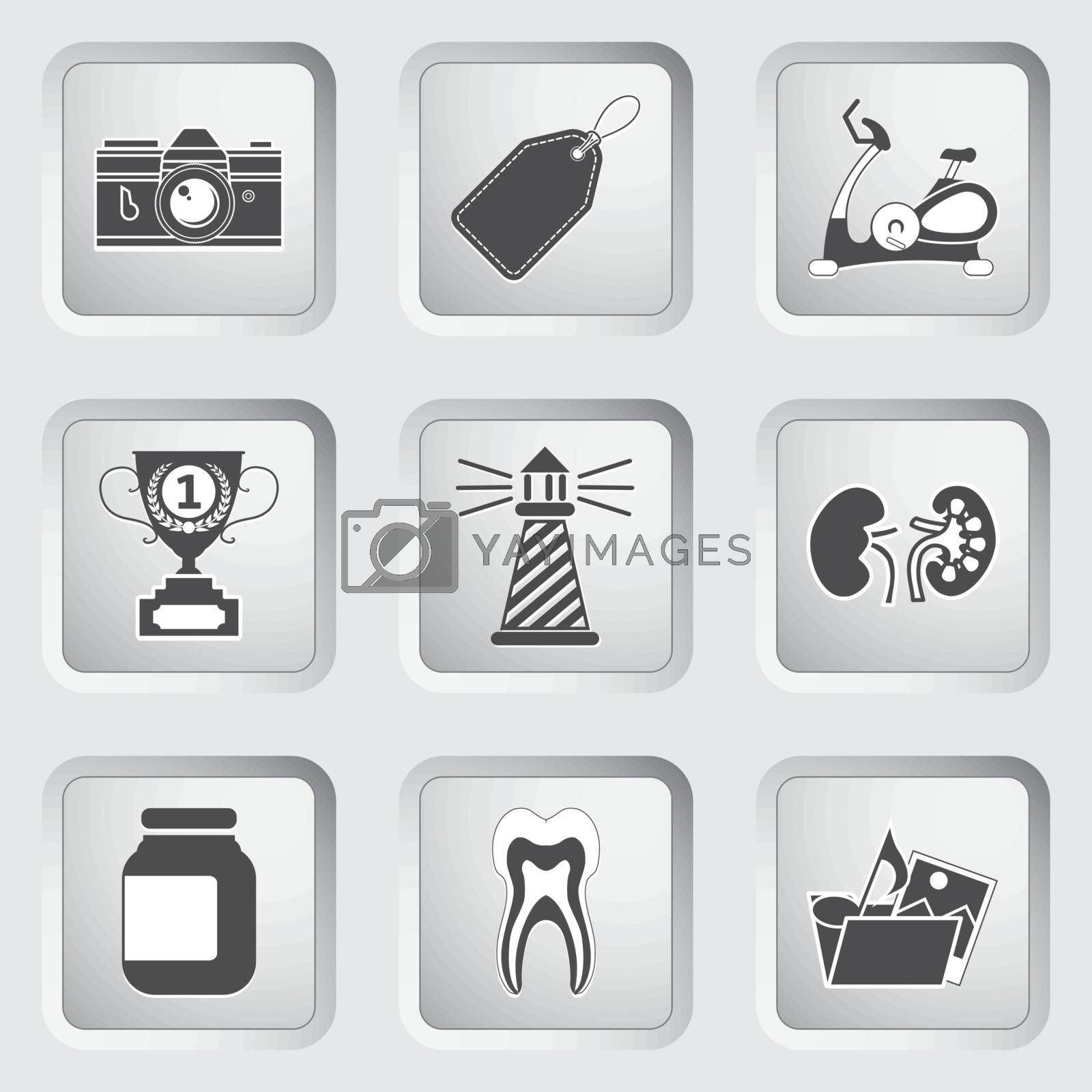Icons on the buttons for Web Design and Mobile Applications Set 9. Vector illustration.