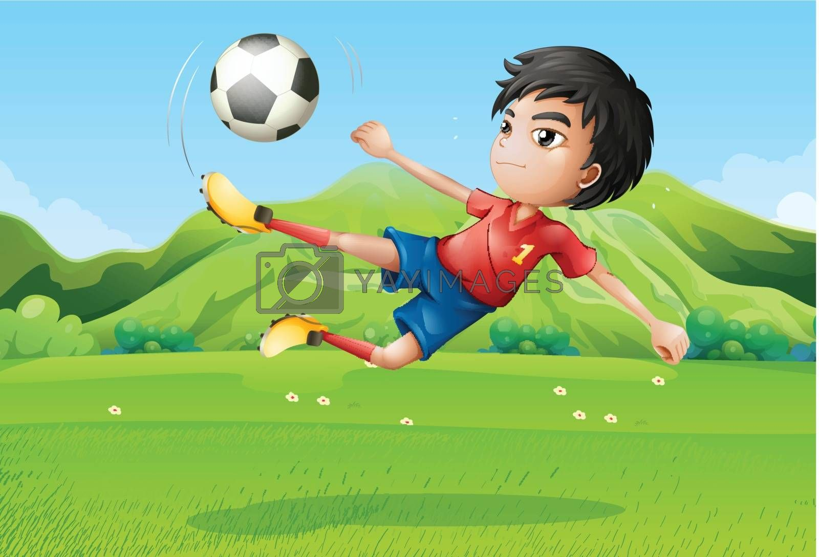 Illustration of a young boy playing football at the field