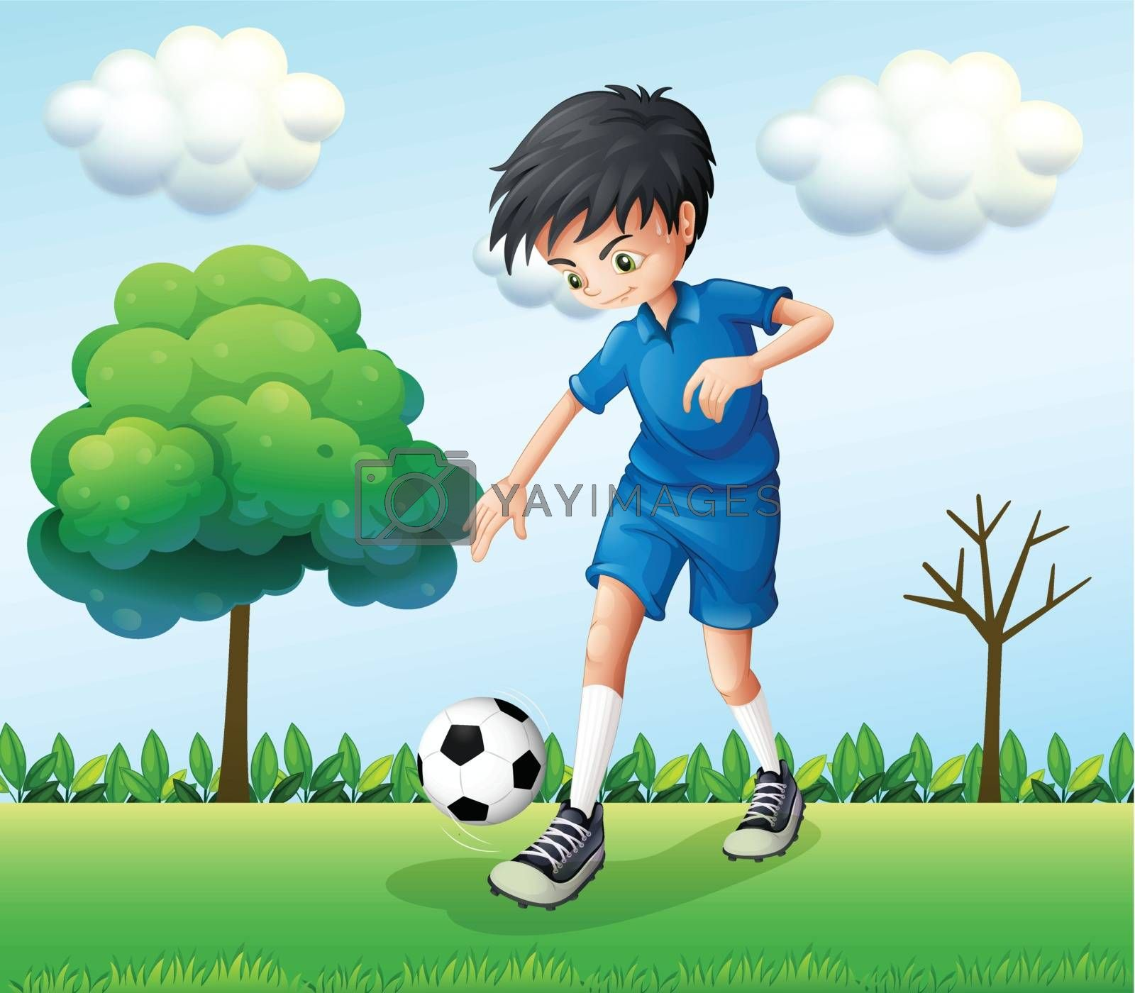 Illustration of a football player wearing his blue uniform