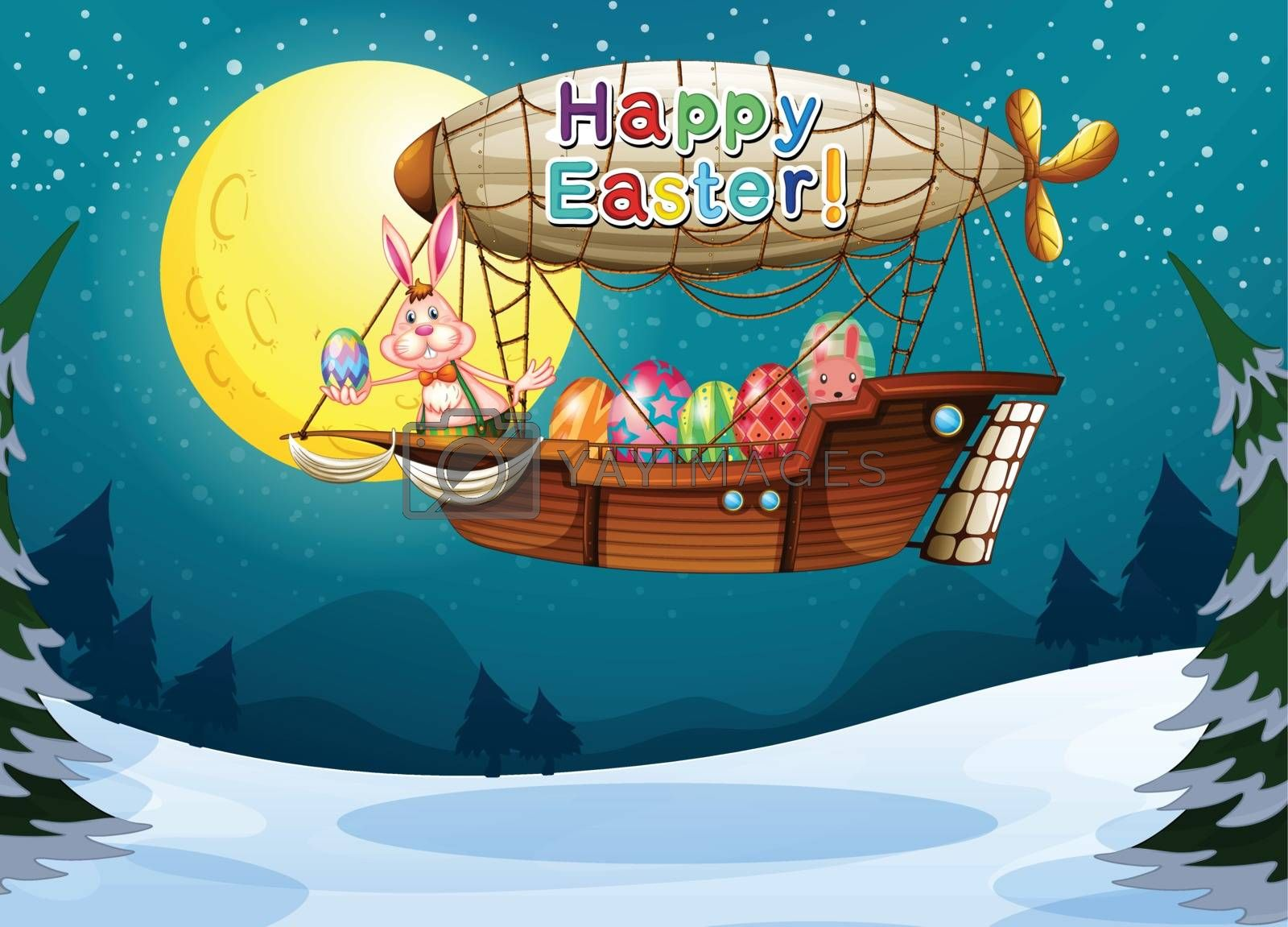 Illustration of a happy easter greeting