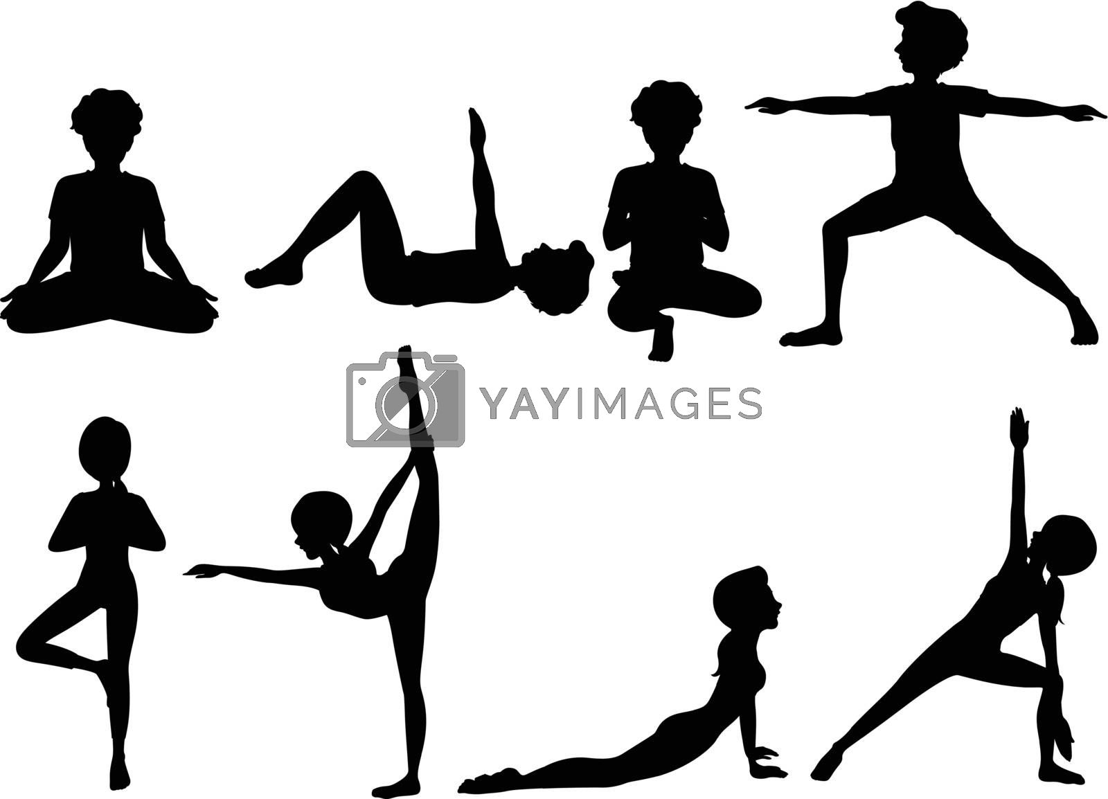 Illustration of the silhouette of people exercising on a white background