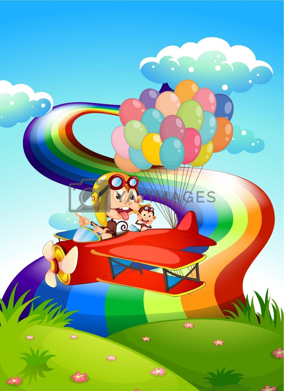 Illustration of the playful monkeys on a plane with balloons