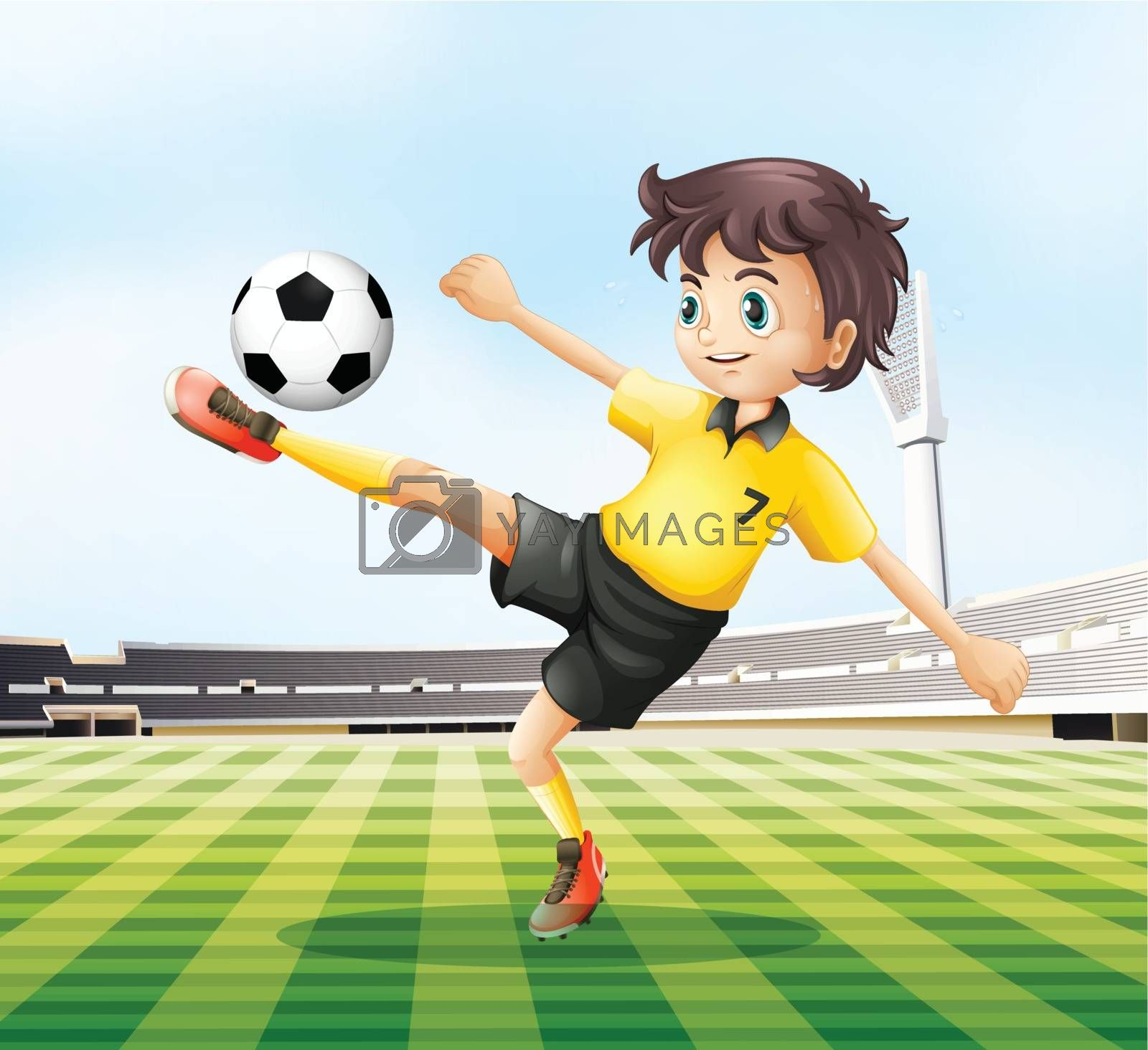 Illustration of a football player kicking the ball