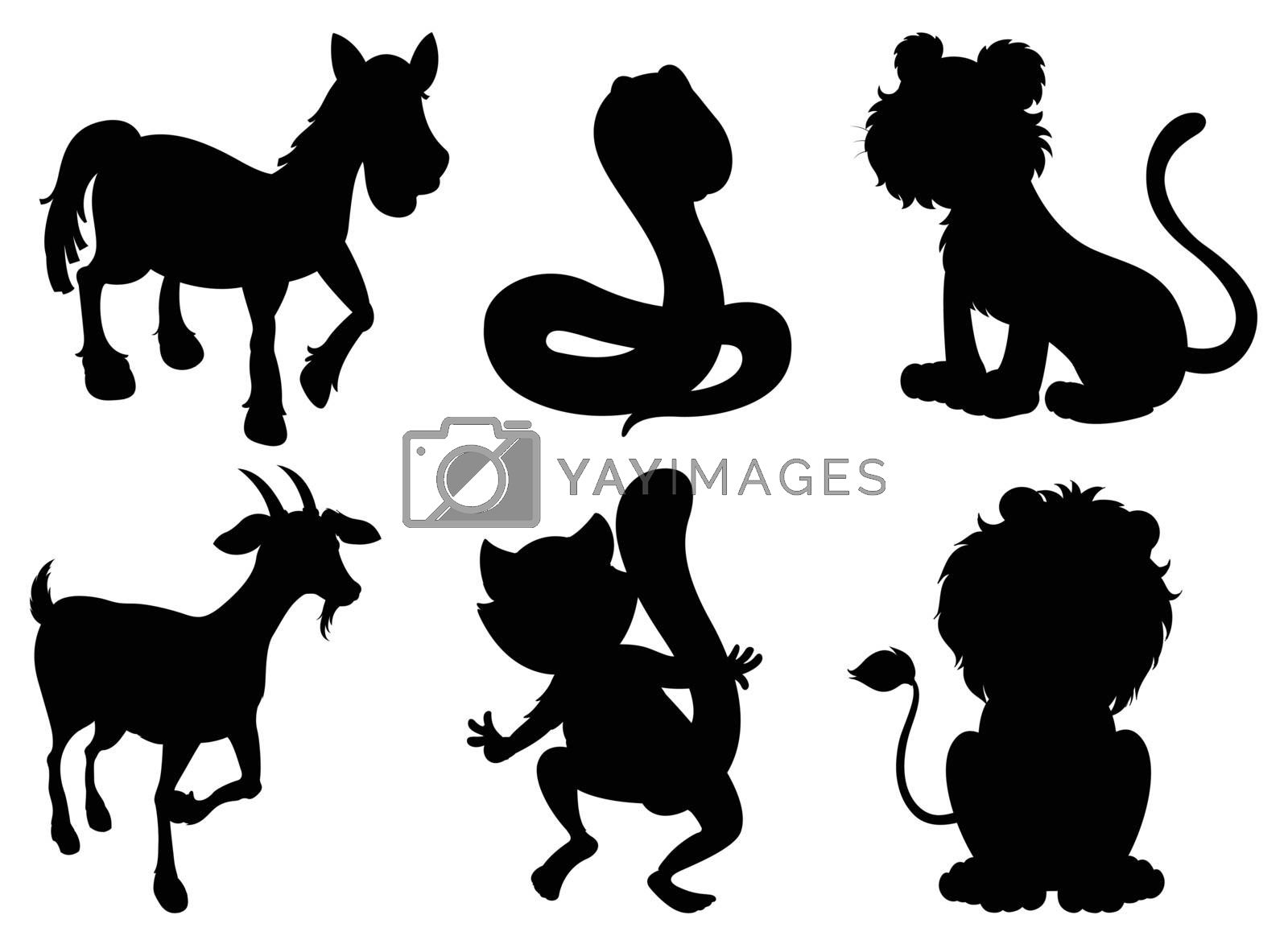Illustration of the black images of wild animals on a white background