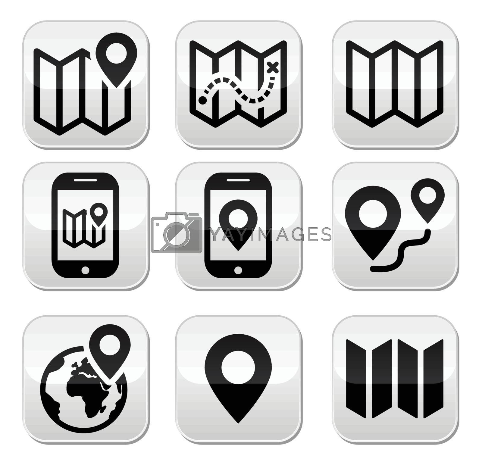 Map and navigation vector buttons set isolated on white