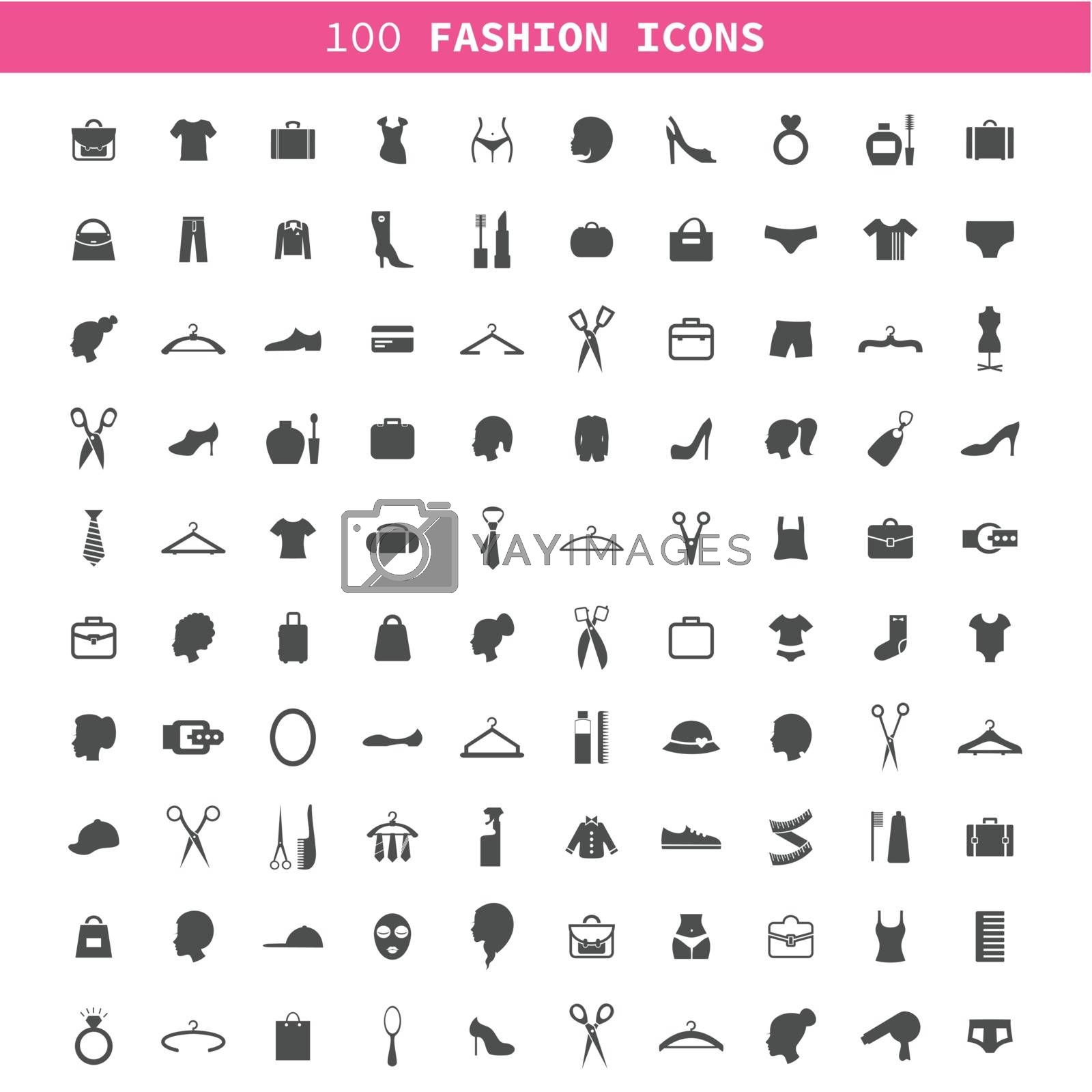 Collection of icons on a theme a fashion and clothes. A vector illustration