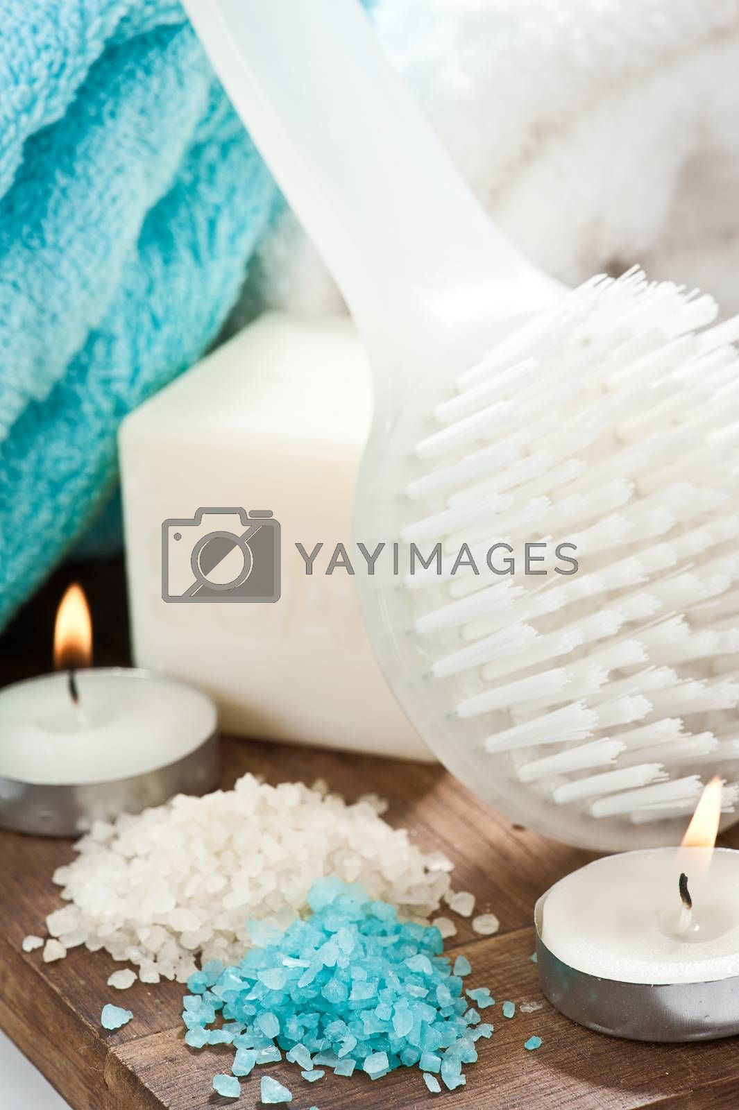 Soap and beige blue spa setting