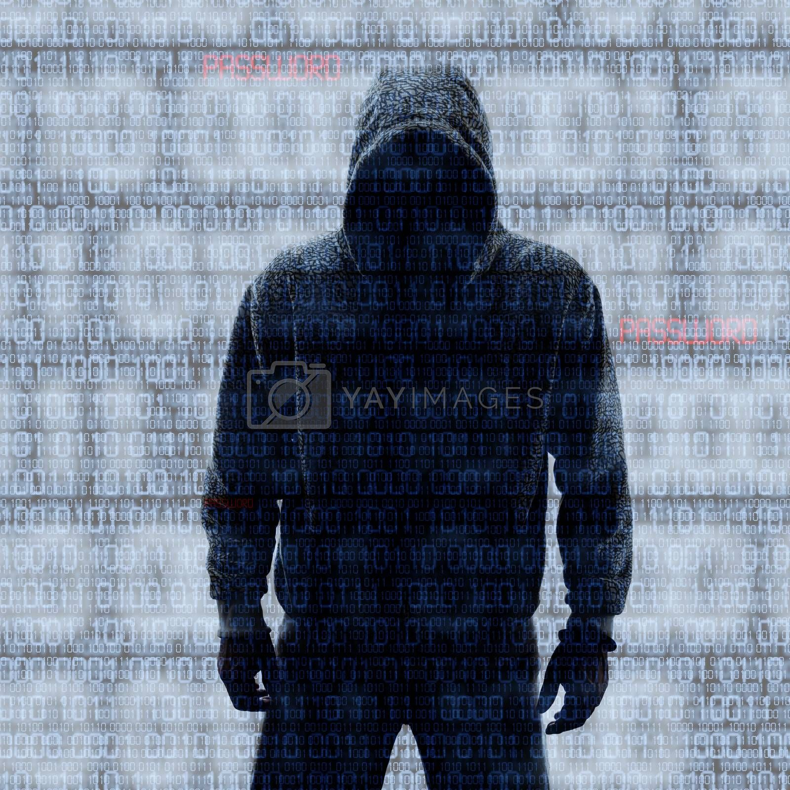 Hackey in Silhouette and Binary codes background