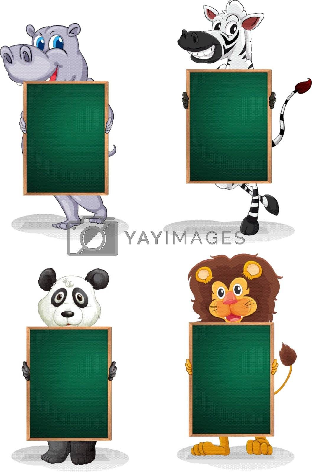 Illustration of the animals with empty blackboards on a white background