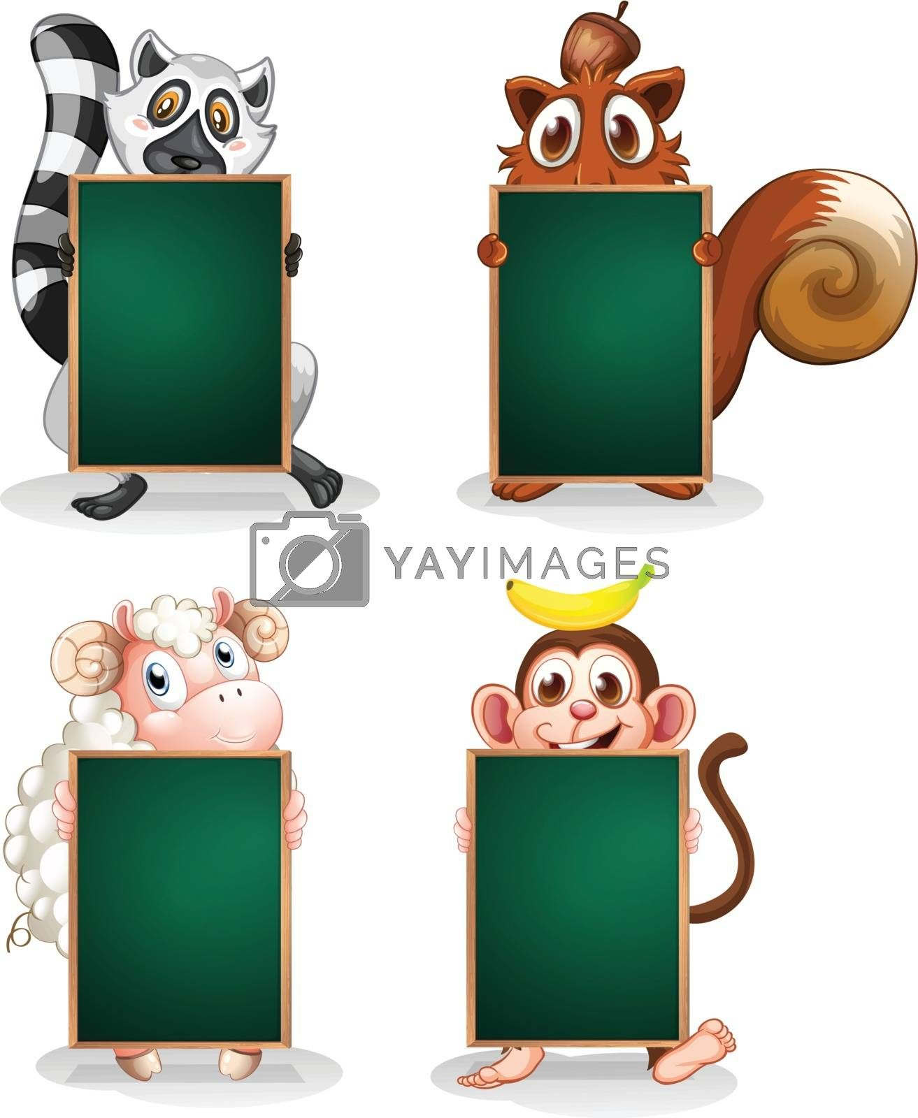 Illustration of the animals holding empty boards on a white background