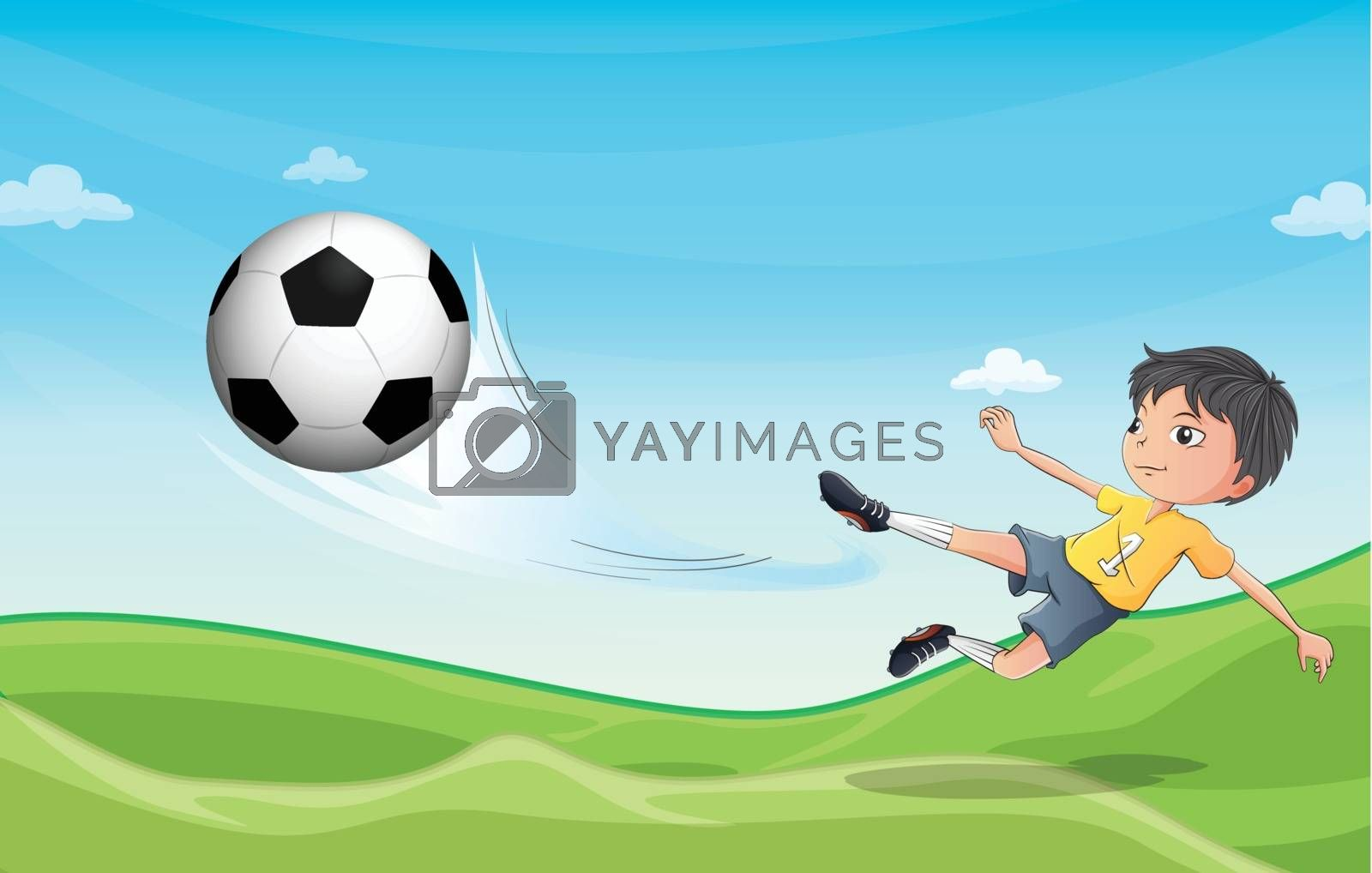 Illustration of a boy playing football at the hills