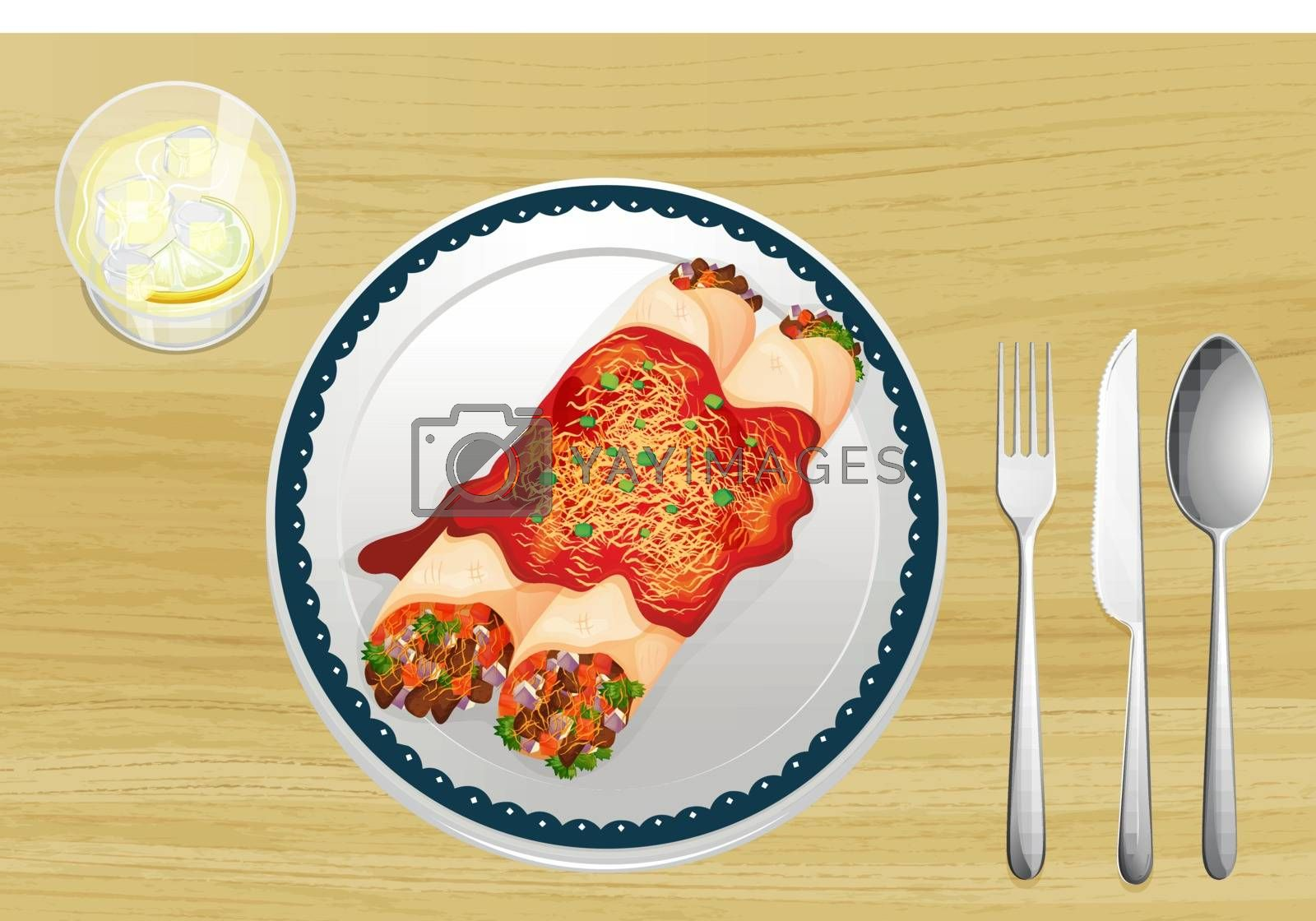 Illustration of a food in a dish on a wooden background