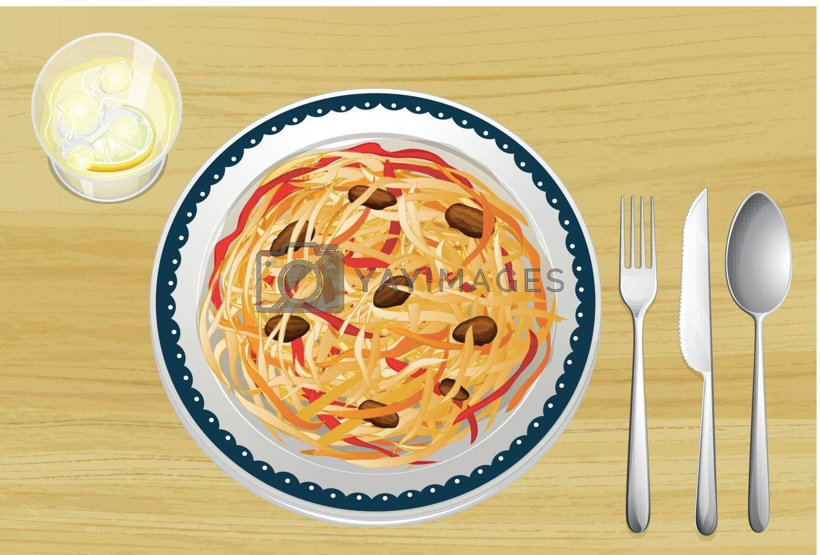 Illustration of Asian food on a wooden table