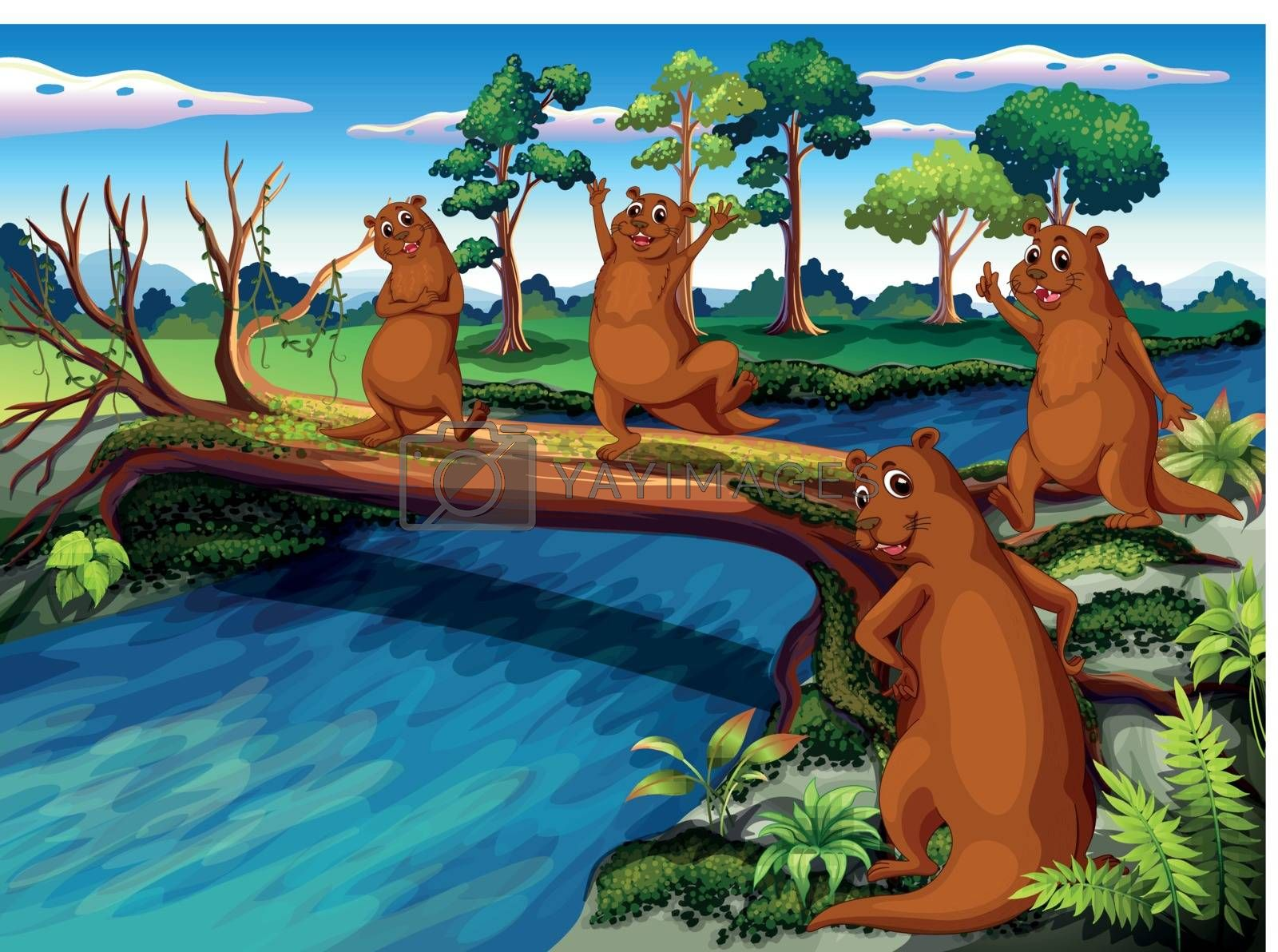 Illustration of the four wild animals at the riverside