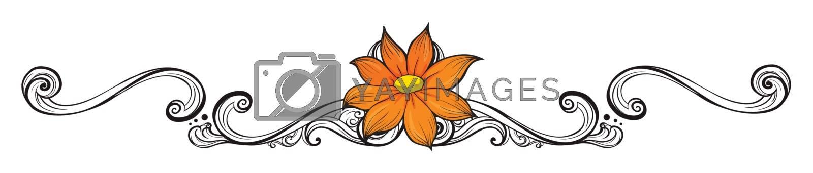 Illustration of an orange flower border on a white background